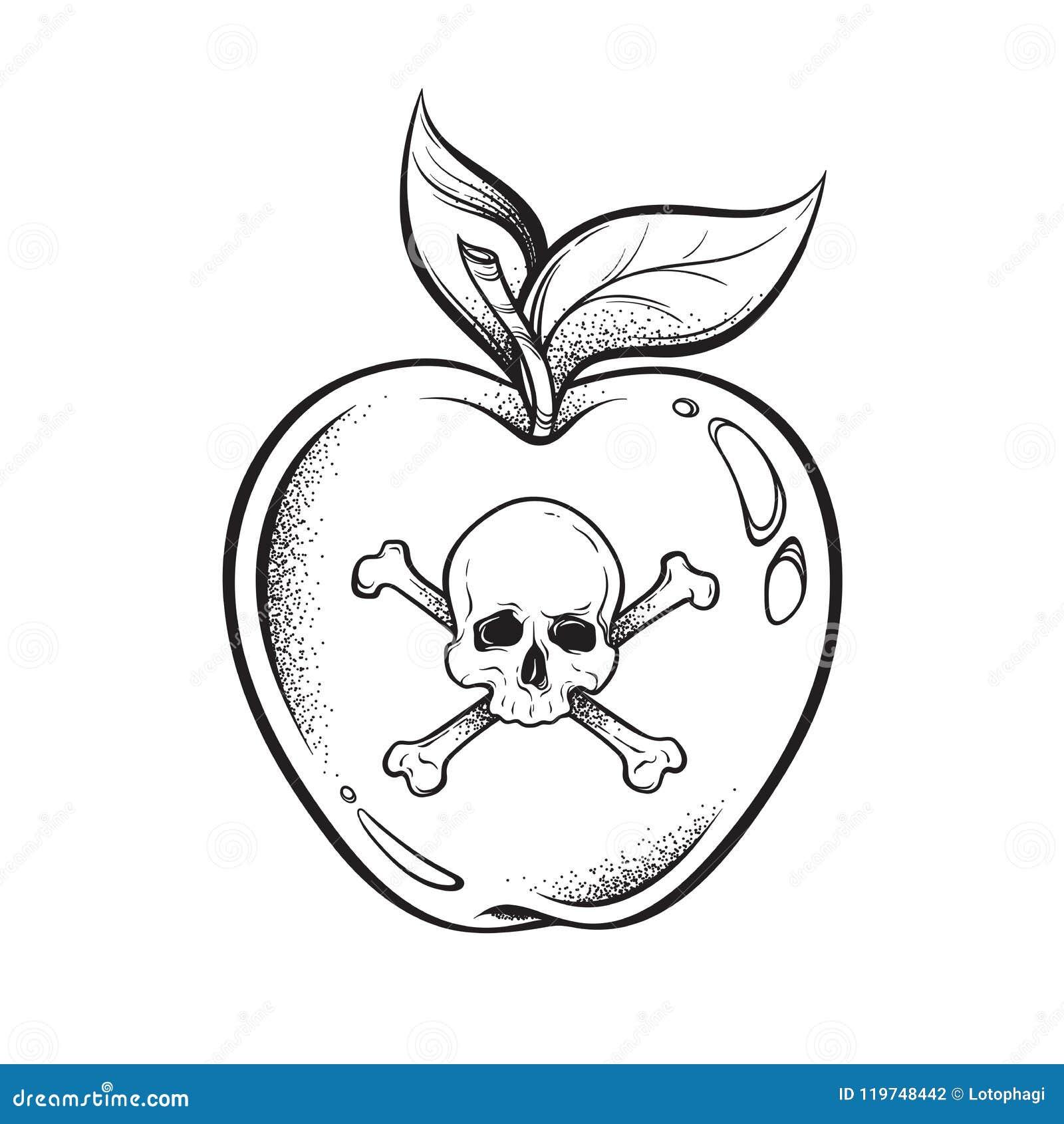 Τέχνη γραμμών μήλων δηλητήριων και συρμένη χέρι διανυσματική απεικόνιση εργασίας σημείων Αυτοκόλλητη ετικέττα ύφους Boho, μπάλωμα