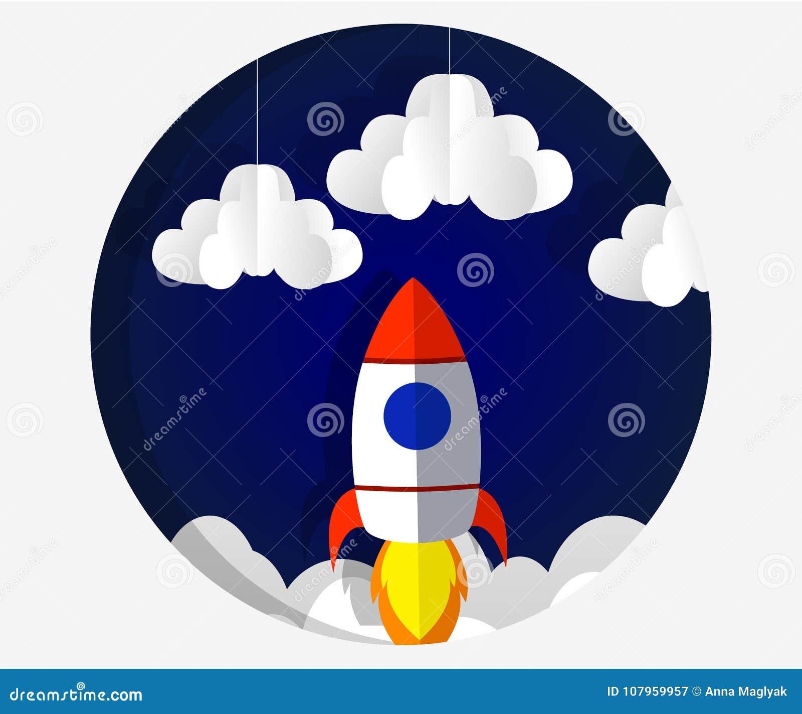 Τέχνη εγγράφου που χαράζει τον πύραυλο που πετά στο διάστημα Επιχειρησιακή ιδέα έννοιας, ξεκίνημα, εξερεύνηση ύφος