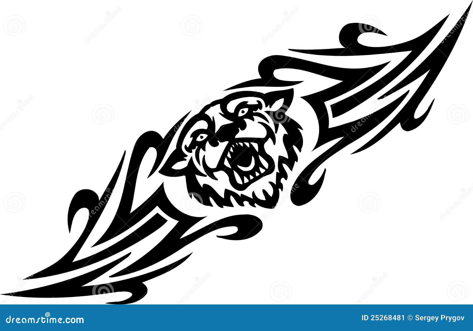 Τίγρη και συμμετρικά tribals - διανυσματική απεικόνιση.