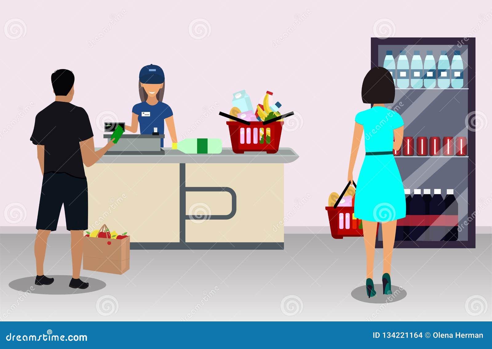 Ταμίας υπεραγορών στον κατάλογο μετρητών και αγοραστής
