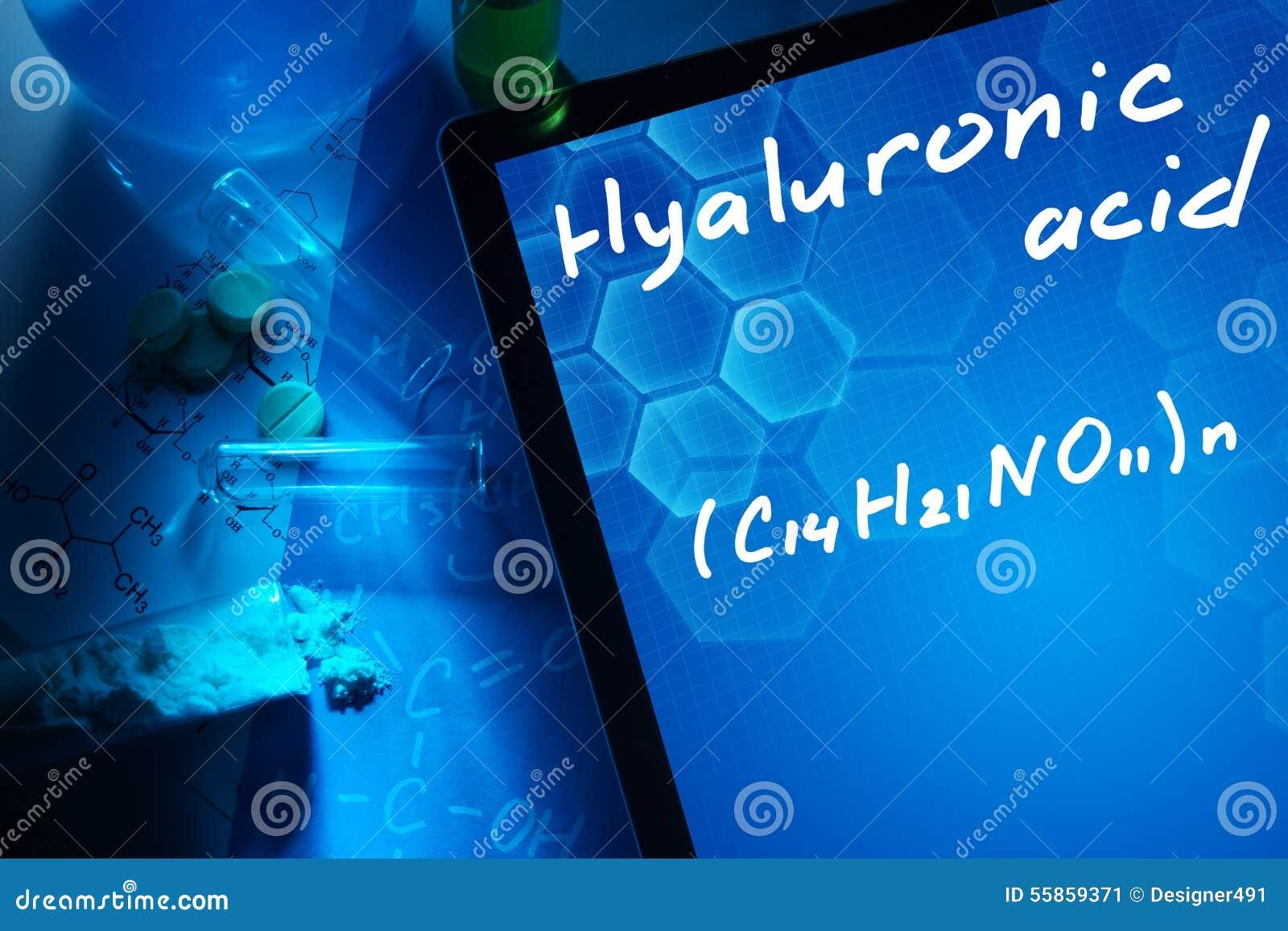 Ταμπλέτα με το χημικό τύπο του hyaluronic οξέος