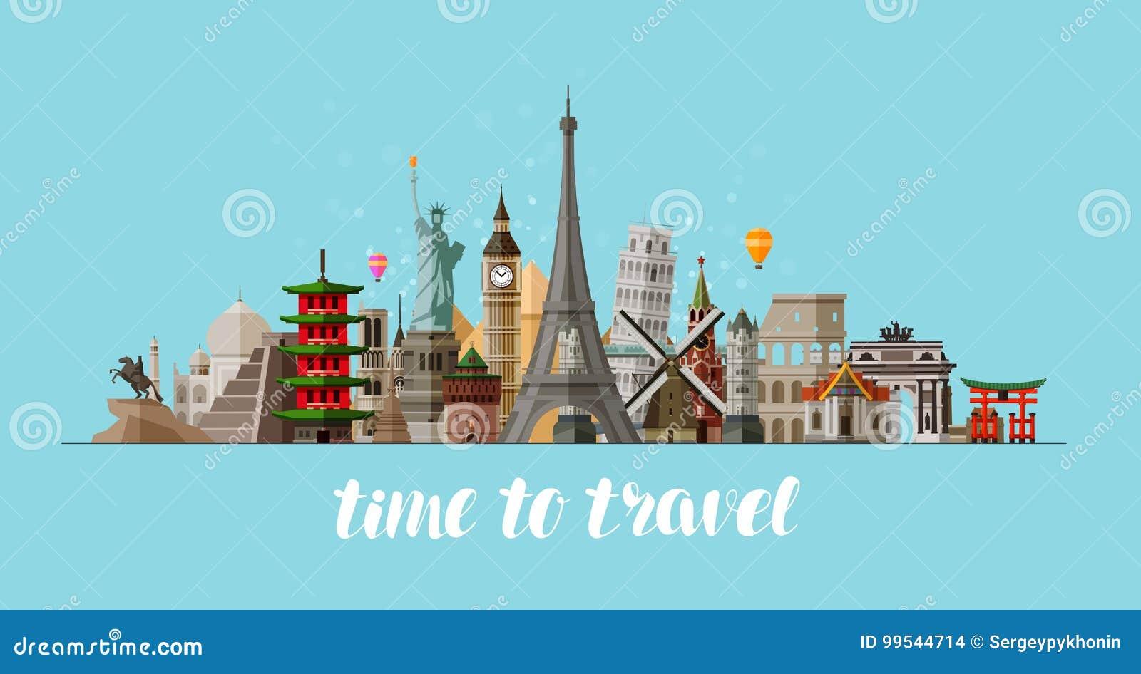 Ταξίδι, έννοια ταξιδιών Διάσημες χώρες θεών του κόσμου επίσης corel σύρετε το διάνυσμα απεικόνισης