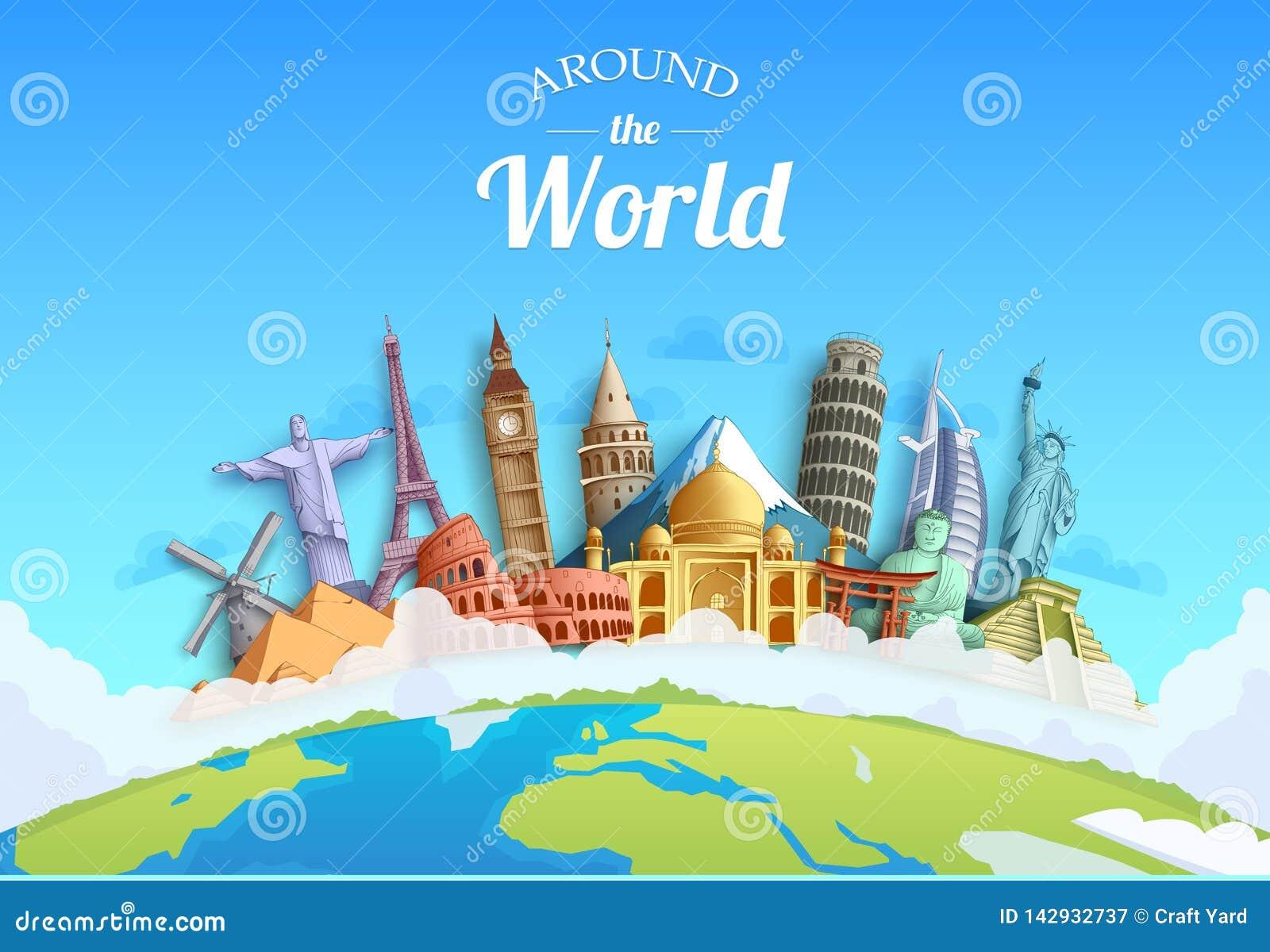Ταξίδι γύρω από τον τόπο προορισμού ορόσημων και τουριστών σχεδίου υποβάθρου παγκόσμιας έννοιας