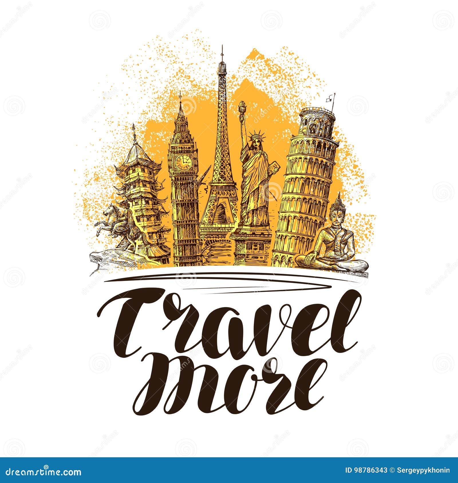 Ταξίδι, έμβλημα ταξιδιών Διάσημα παγκόσμια ορόσημα Διανυσματική απεικόνιση σκίτσων