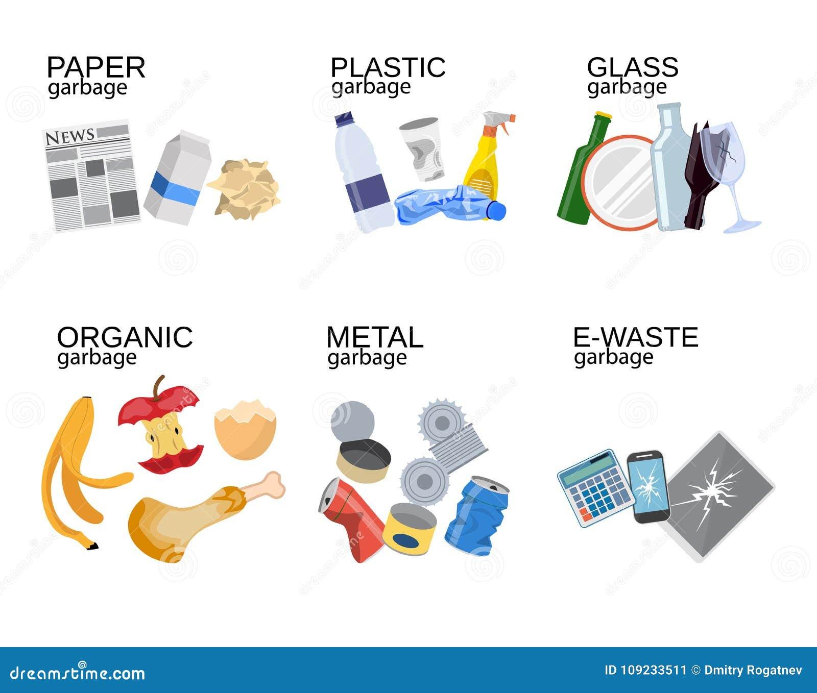 Ταξινομώντας απόβλητα τροφίμων απορριμάτων, γυαλί, μέταλλο