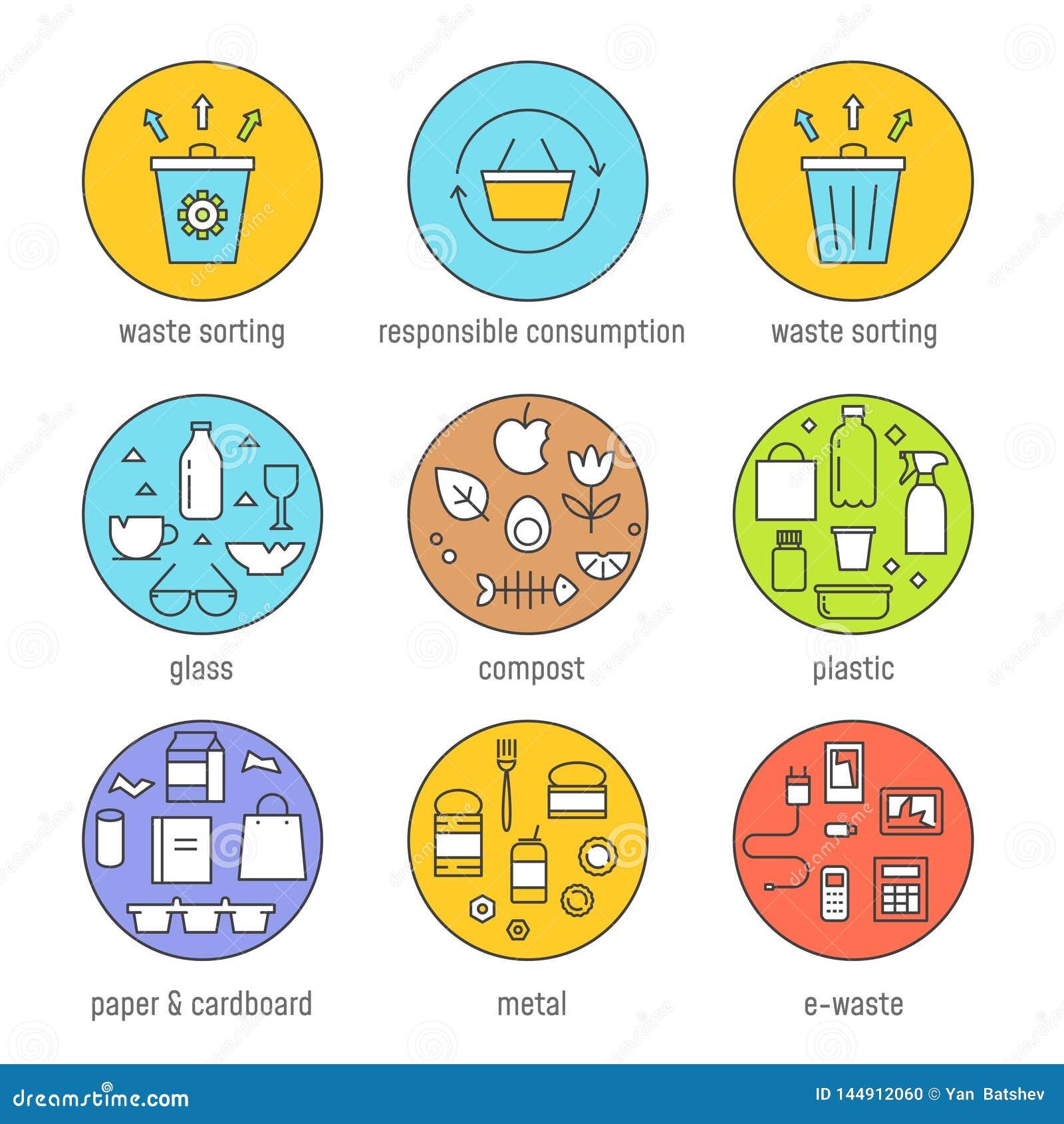 Ταξινόμηση αποβλήτων και αρμόδιο σύνολο γραφικής παράστασης κατανάλωσης διανυσματικό Επίπεδο σχέδιο περιλήψεων