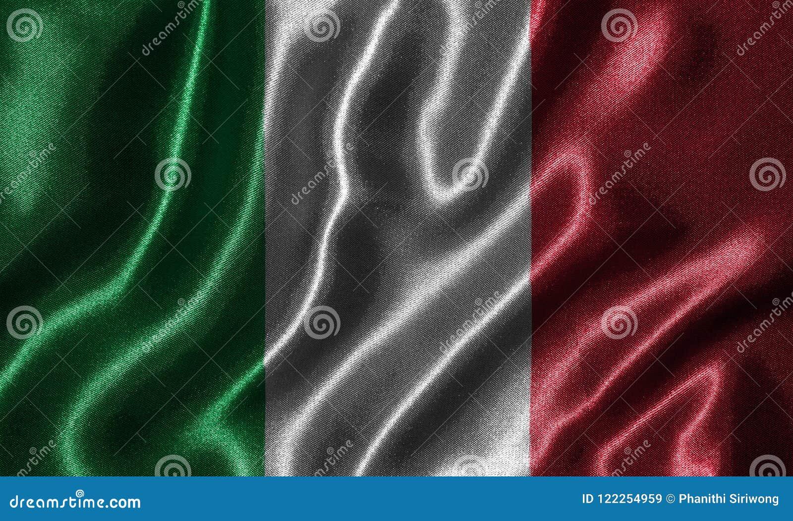 Ταπετσαρία από τη σημαία της Ιταλίας και την κυματίζοντας σημαία από το ύφασμα