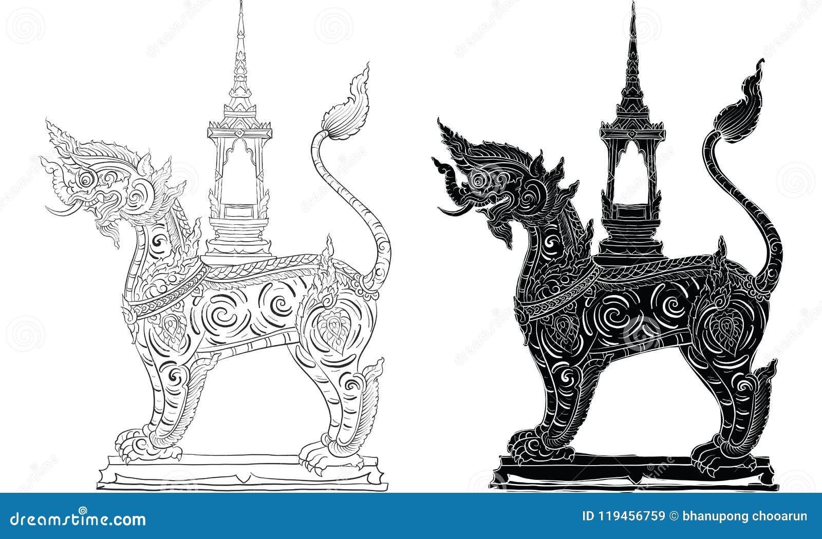 Ταϊλανδική παραδοσιακή δερματοστιξία, ταϊλανδική παραδοσιακή ζωγραφική στο διάνυσμα ναών
