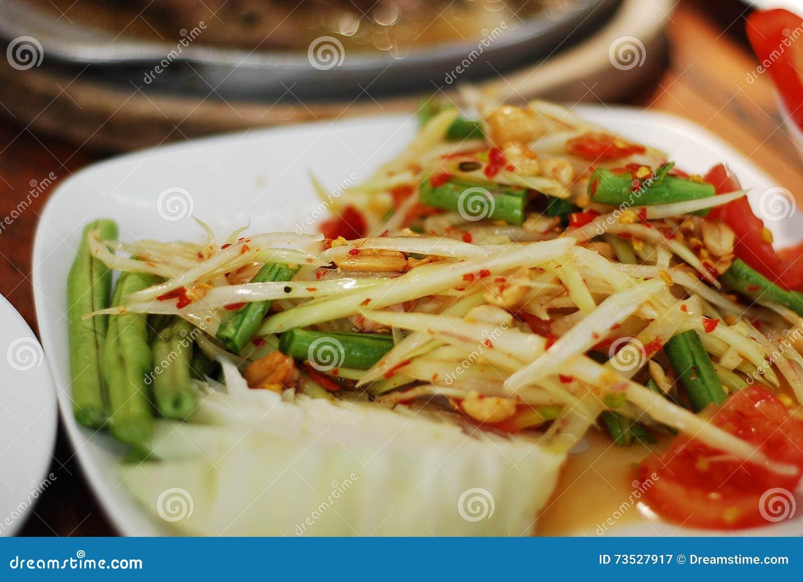 Ταϊλανδικό PAPAYA SOM-Tam σαλάτας