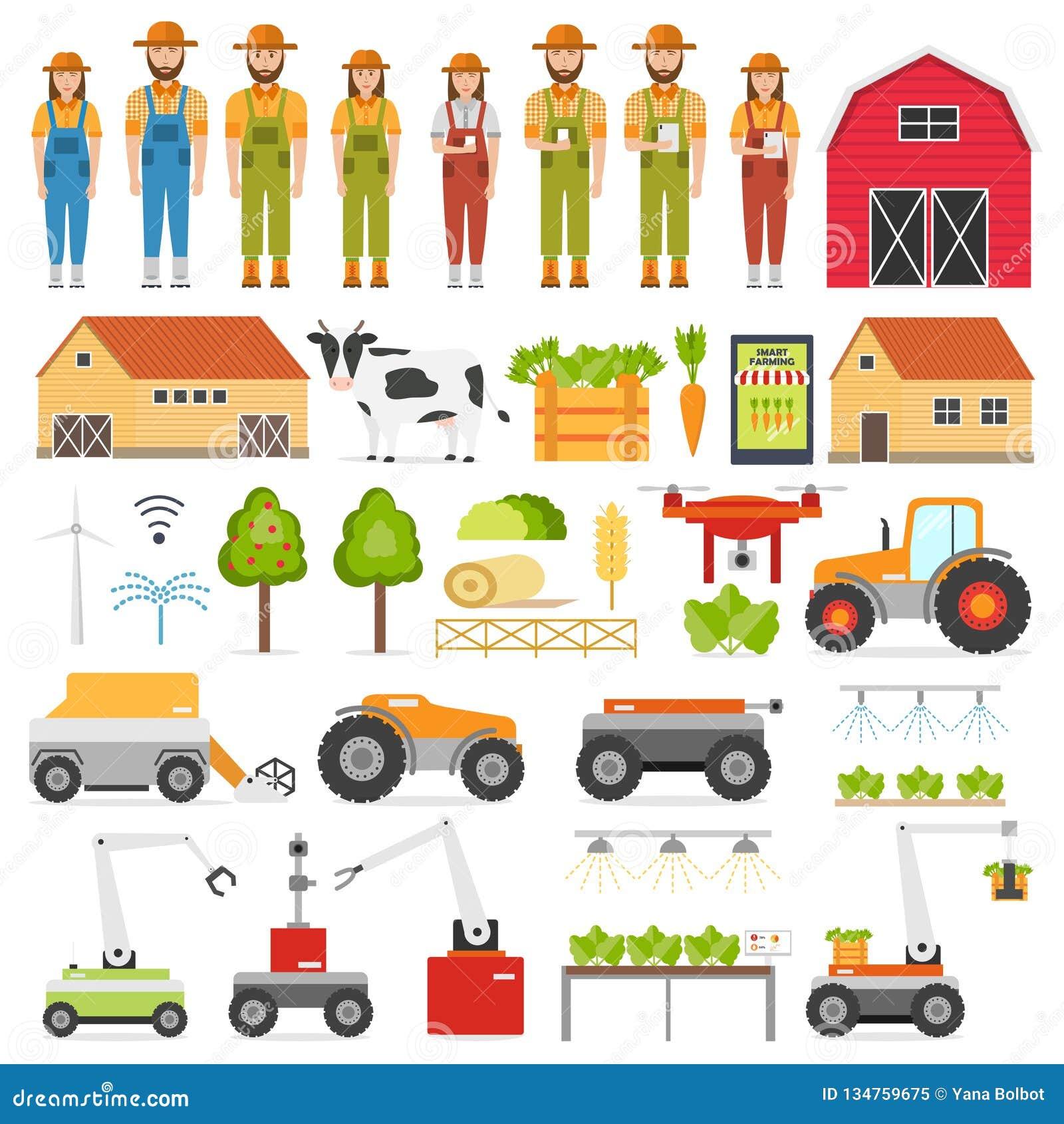 Τα έξυπνα εικονίδια καλλιέργειας αυτοματοποίησης γεωργίας θέτουν με τις απομονωμένες εικόνες του αγρότη και του ρομπότ