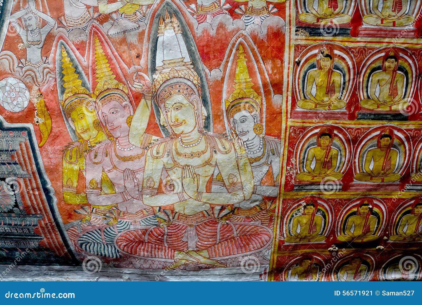 Download Τα έργα ζωγραφικής τοίχων και τα αγάλματα του Βούδα σε Dambulla ανασκάπτουν το χρυσό ναό Στοκ Εικόνα - εικόνα από arroyos, σπηλιά: 56571921