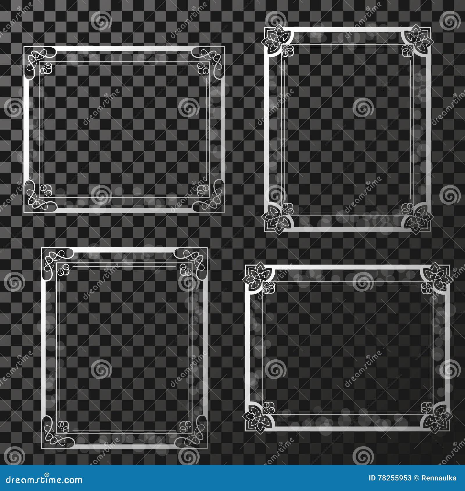Τα ασημένια πλαίσια με την εγκύκλιο διαφάνειας ακτινοβολούν Πλαίσια ορθογωνίων διακοσμήσεων για τη φωτογραφία σας σύνορα διακοσμη