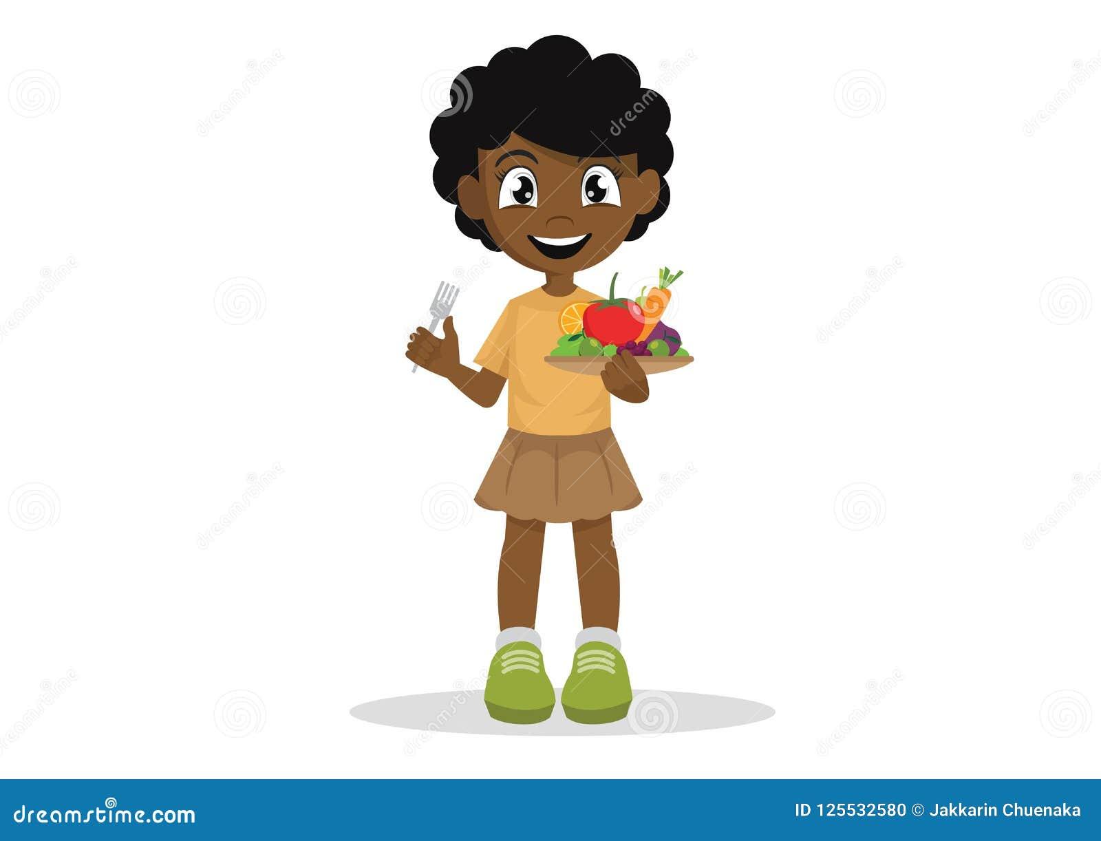 Τα αφρικανικά κορίτσια επιθυμούν να φάνε τα λαχανικά και τα φρούτα