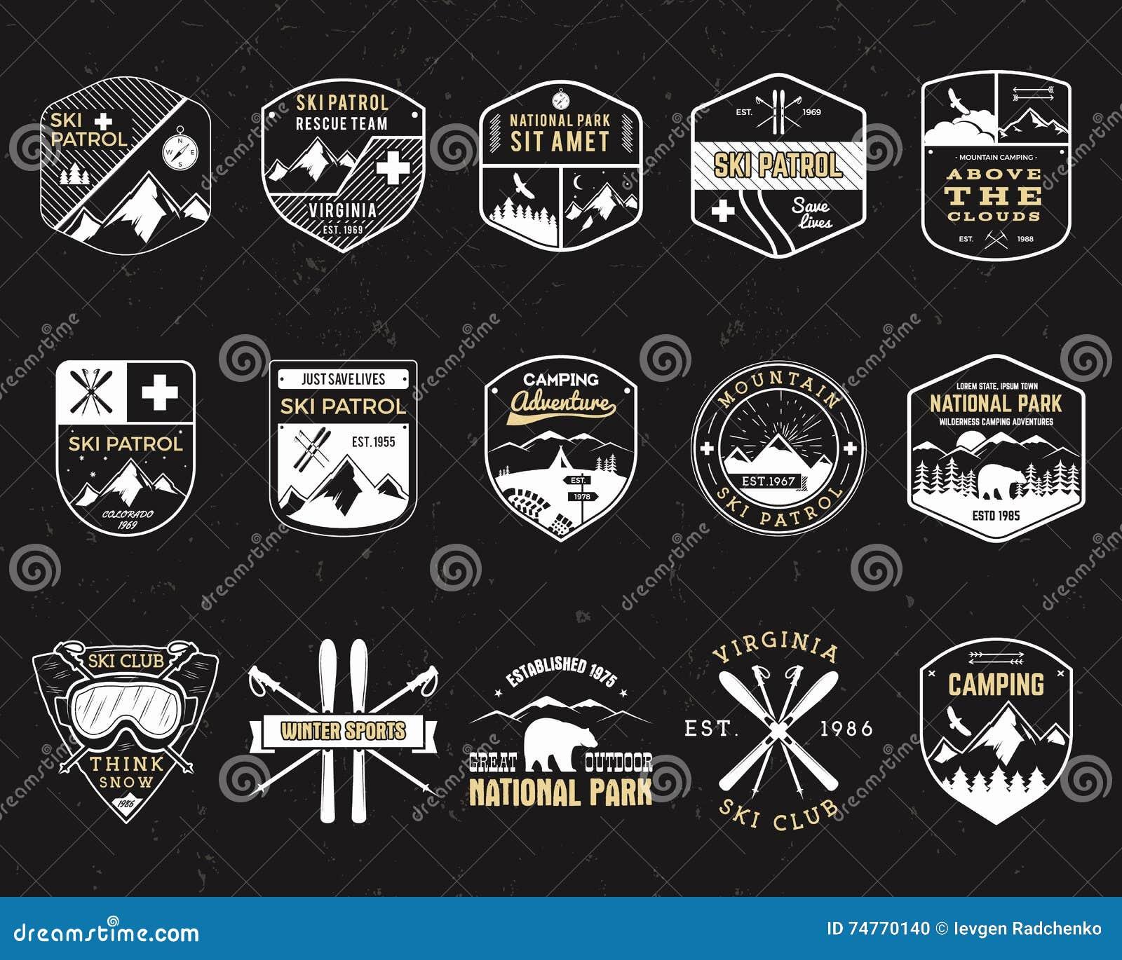 Τα γραμματόσημα για στρατοπεδεύουν υπαίθρια Διαφορετικά μπάλωμα και διακριτικά ύφους τουρισμού hipster Έμβλημα αποστολής Σκι χειμ