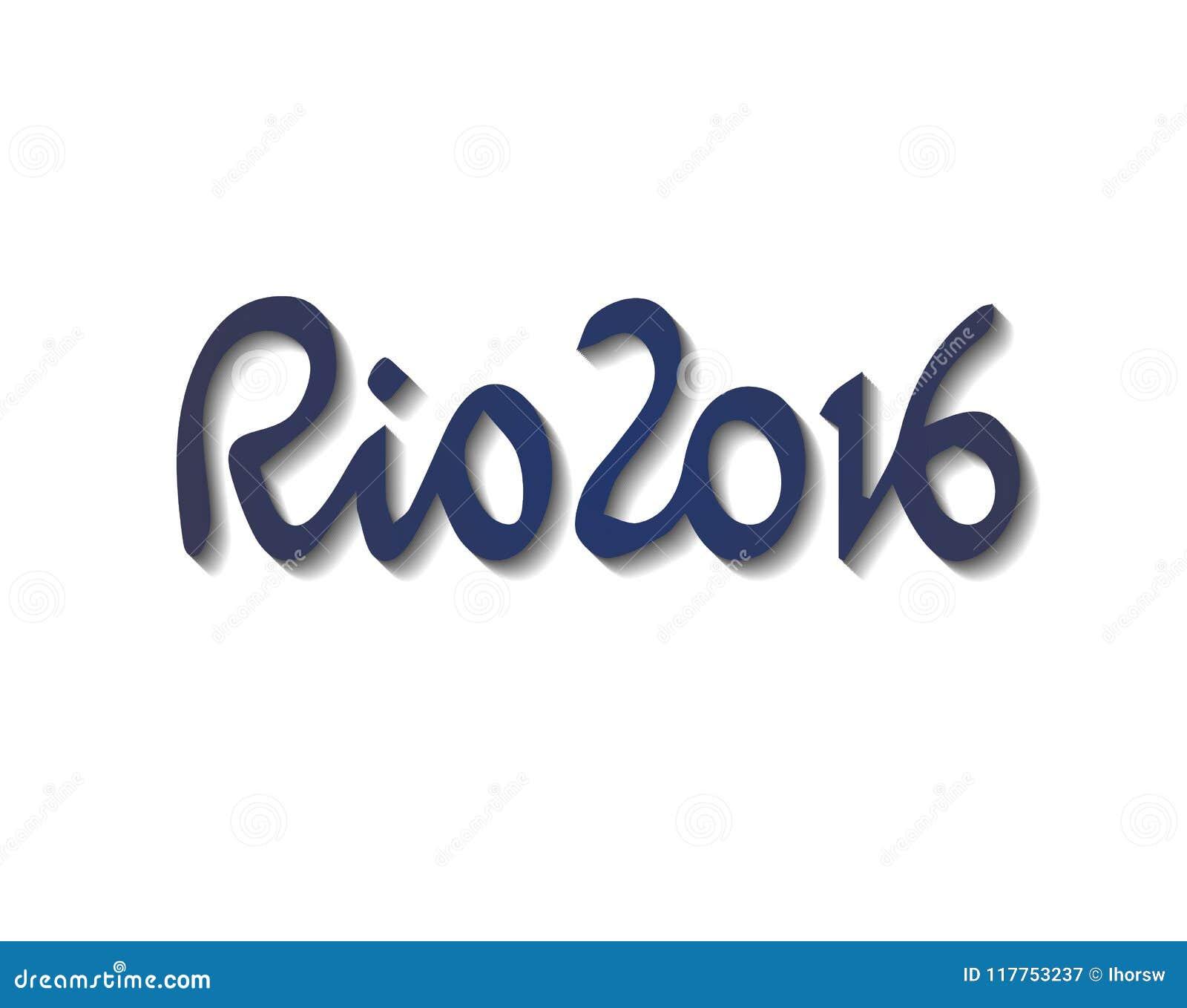 Τα διανυσματικά συρμένα χέρι ψηφία Ρίο ντε Τζανέιρο θερινών αγώνων το 2016 της Βραζιλίας με το αφηρημένο ζωηρόχρωμο σκηνικό είναι