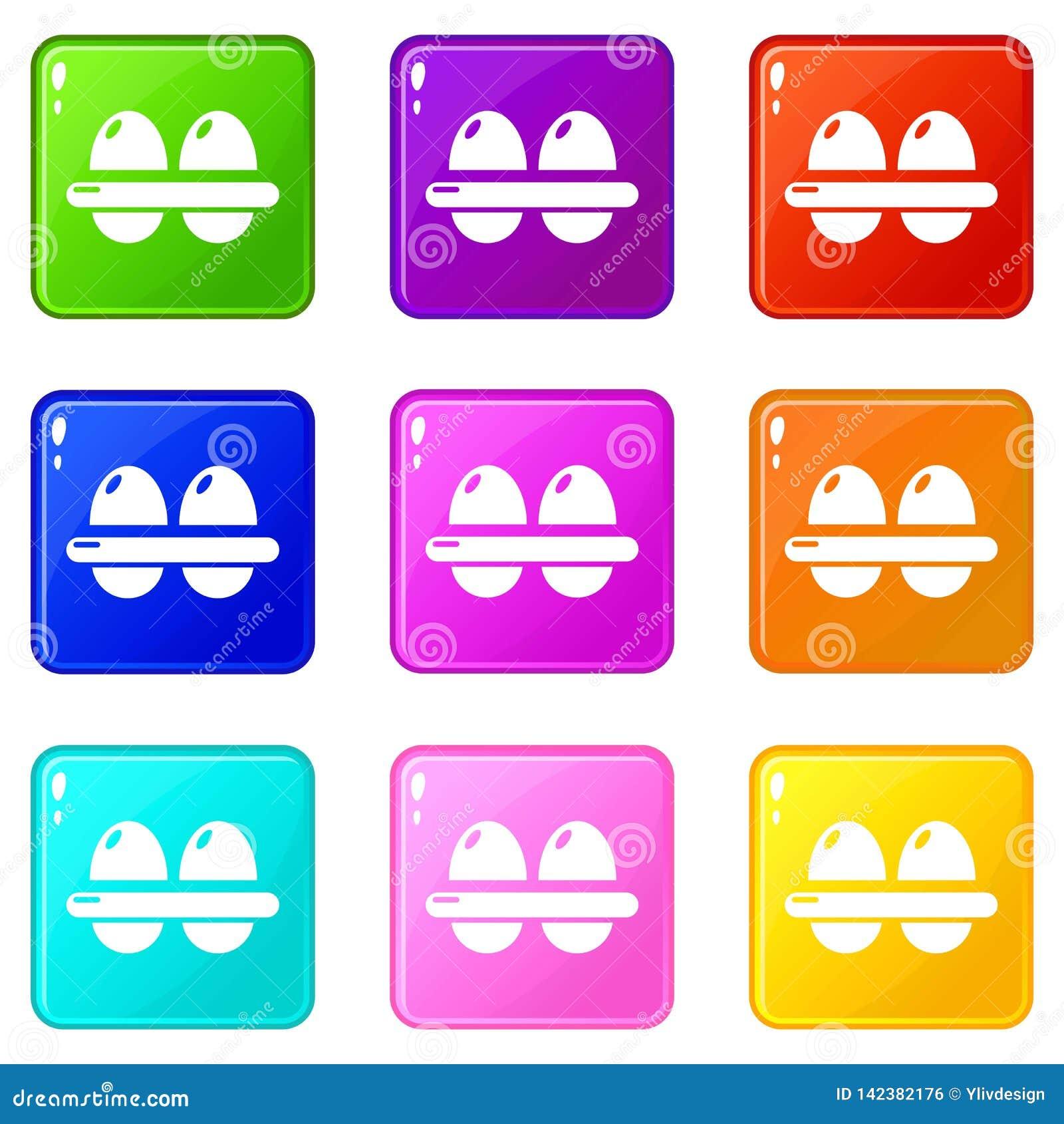 Τα εικονίδια αυγών θέτουν τη συλλογή 9 χρώματος