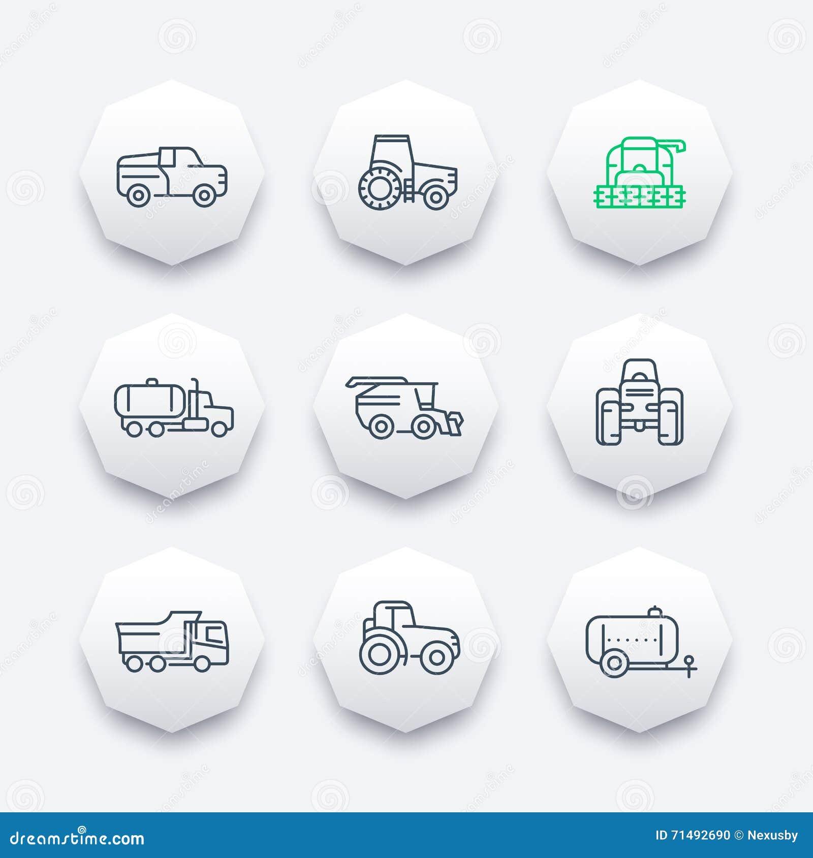 Τα εικονίδια γραμμών γεωργικών μηχανημάτων, συνδυάζουν τη θεριστική μηχανή, τρακτέρ, η συγκομιδή σιταριού συνδυάζει, φορτηγό, γεω