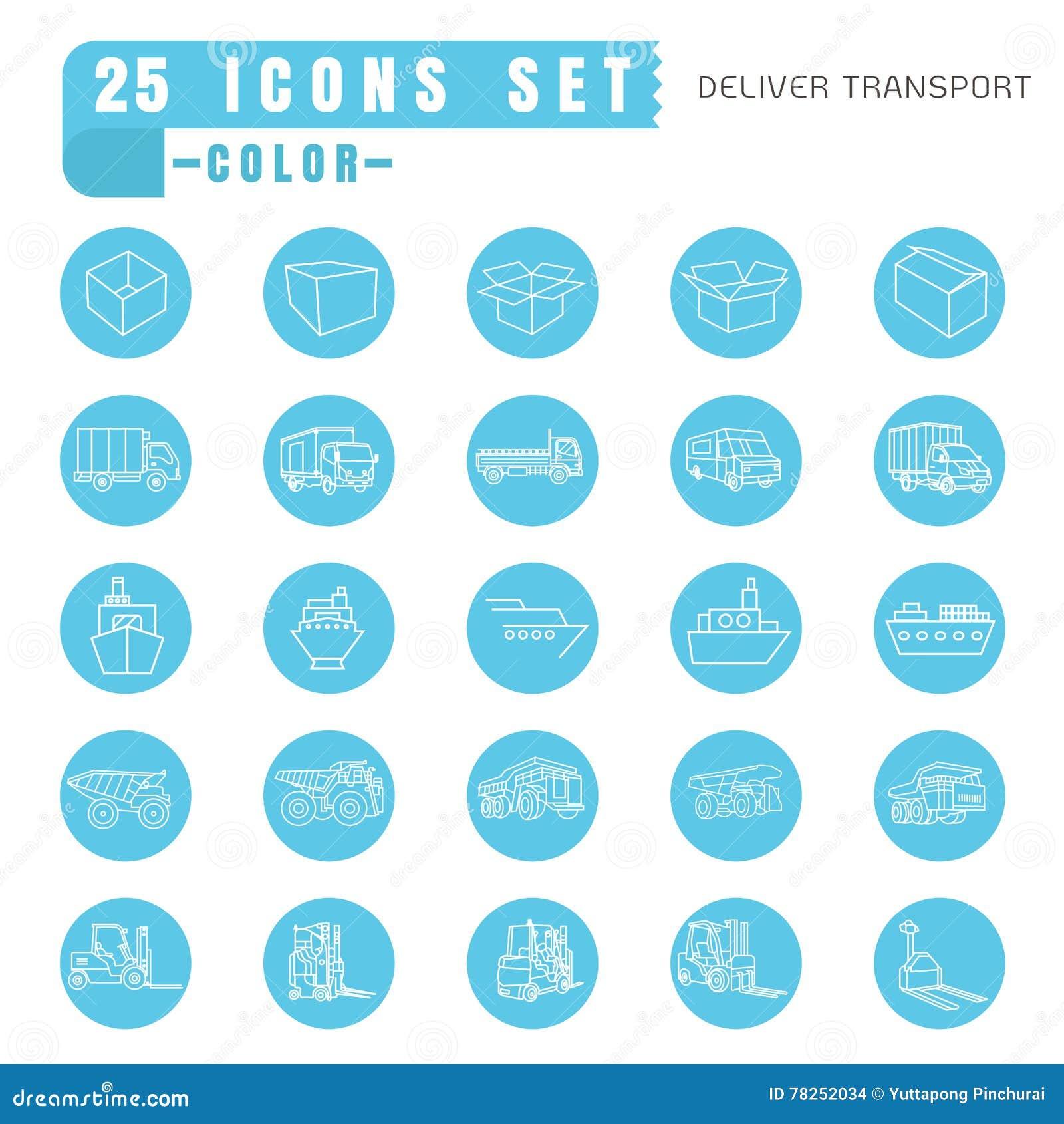Τα εικονίδια παραδίδουν το λεπτό λευκό χρώματος μεταφορών στο μπλε κύκλων επάνω