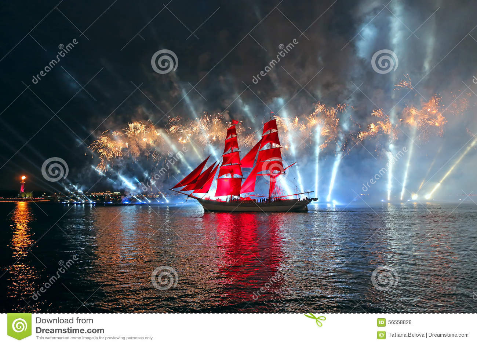 Download Τα ερυθρά πανιά εορτασμού παρουσιάζουν κατά τη διάρκεια του άσπρου φεστιβάλ νυχτών Εκδοτική Στοκ Εικόνες - εικόνα από νύχτα, πυρκαγιά: 56558828