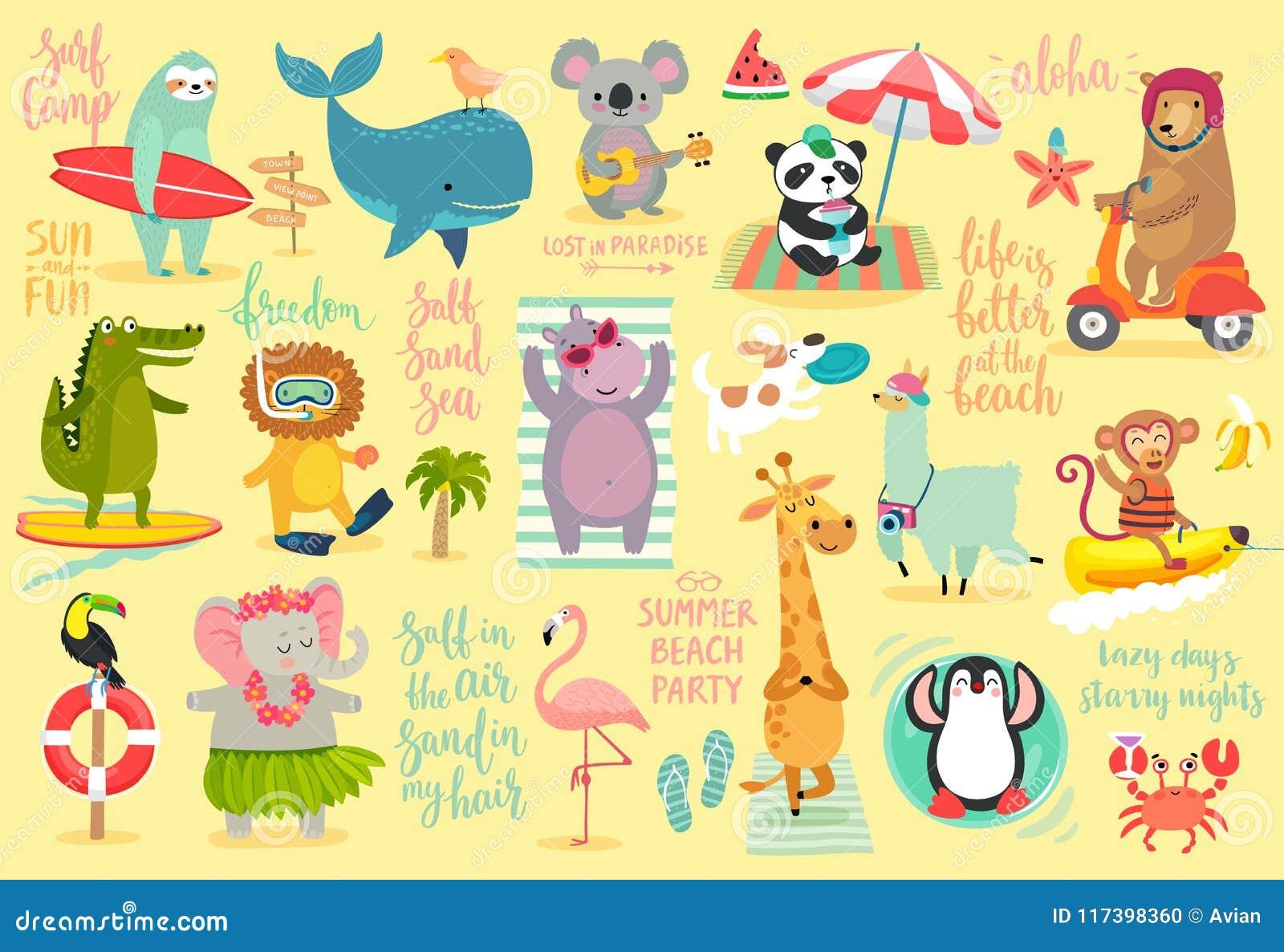 Τα ζώα παραλιών δίνουν το συρμένο ύφος, το καλοκαίρι καθορισμένα - καλλιγραφία και άλλα στοιχεία