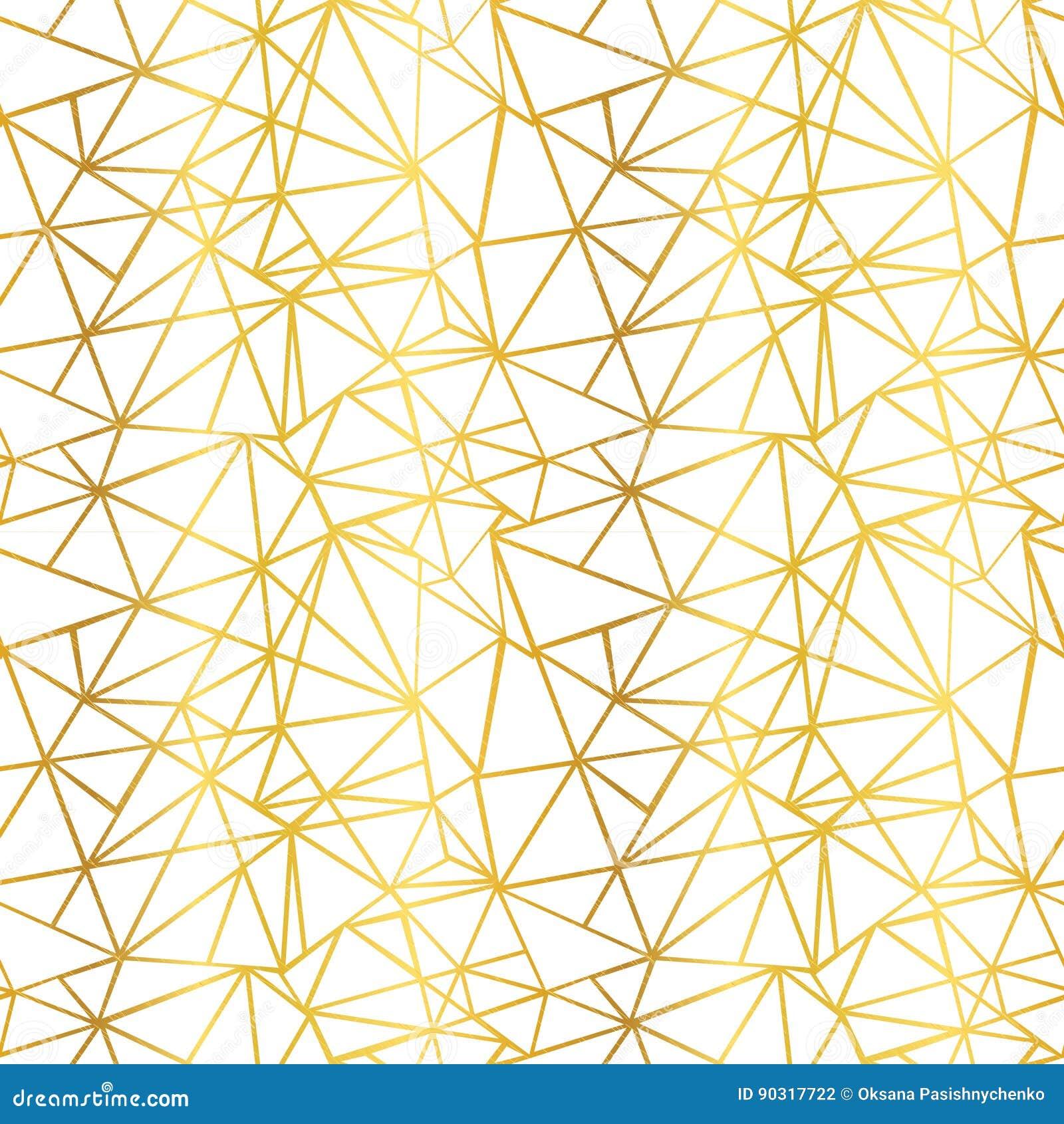 Τα διανυσματικά άσπρα και χρυσά φύλλων αλουμινίου τρίγωνα μωσαϊκών καλωδίων γεωμετρικά επαναλαμβάνουν το άνευ ραφής υπόβαθρο σχεδ