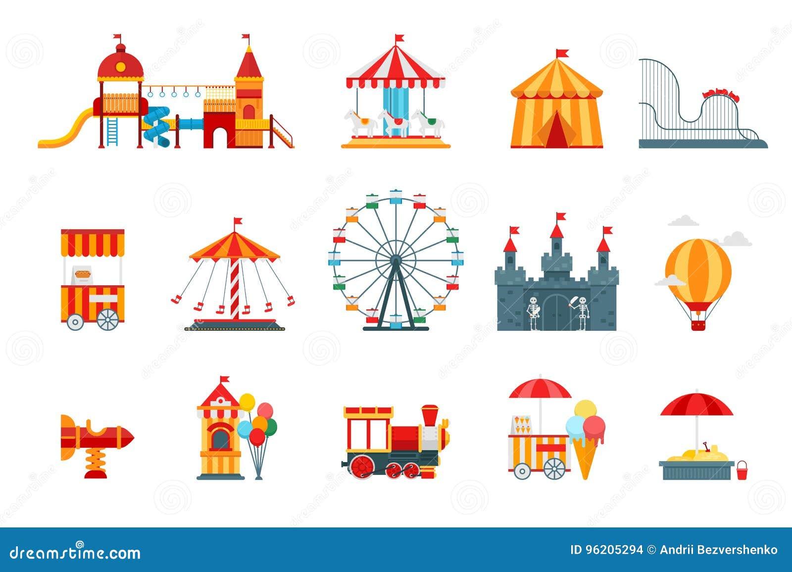 Τα διανυσματικά επίπεδα στοιχεία λούνα παρκ, εικονίδια διασκέδασης, στο άσπρο υπόβαθρο με τα ferris κυλούν, κάστρο, έλξη