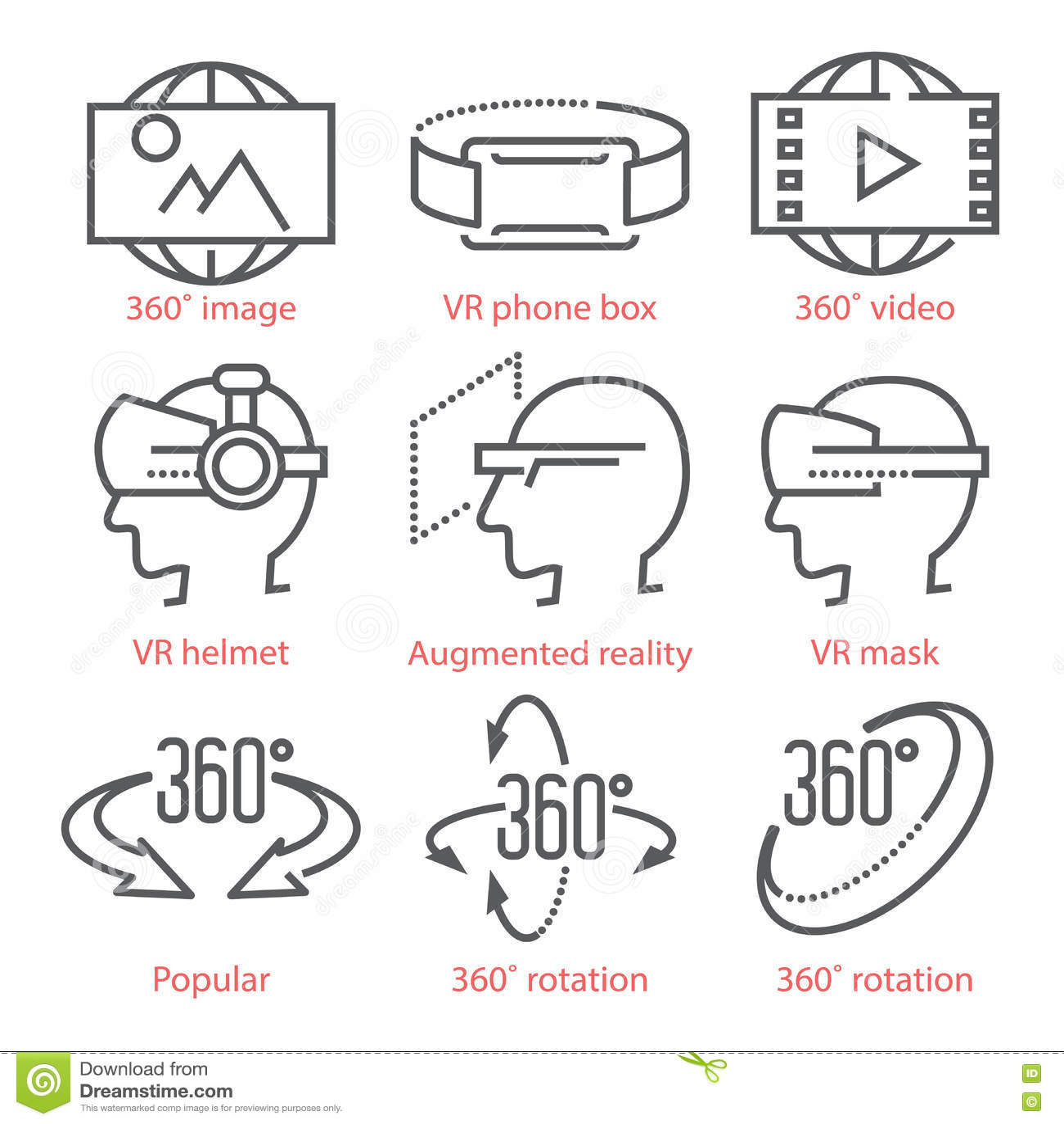 Τα διανυσματικά λεπτά εικονίδια γραμμών θέτουν με τα εικονίδια άποψης 360 βαθμών, τον εξοπλισμό εικονικής πραγματικότητας και τα