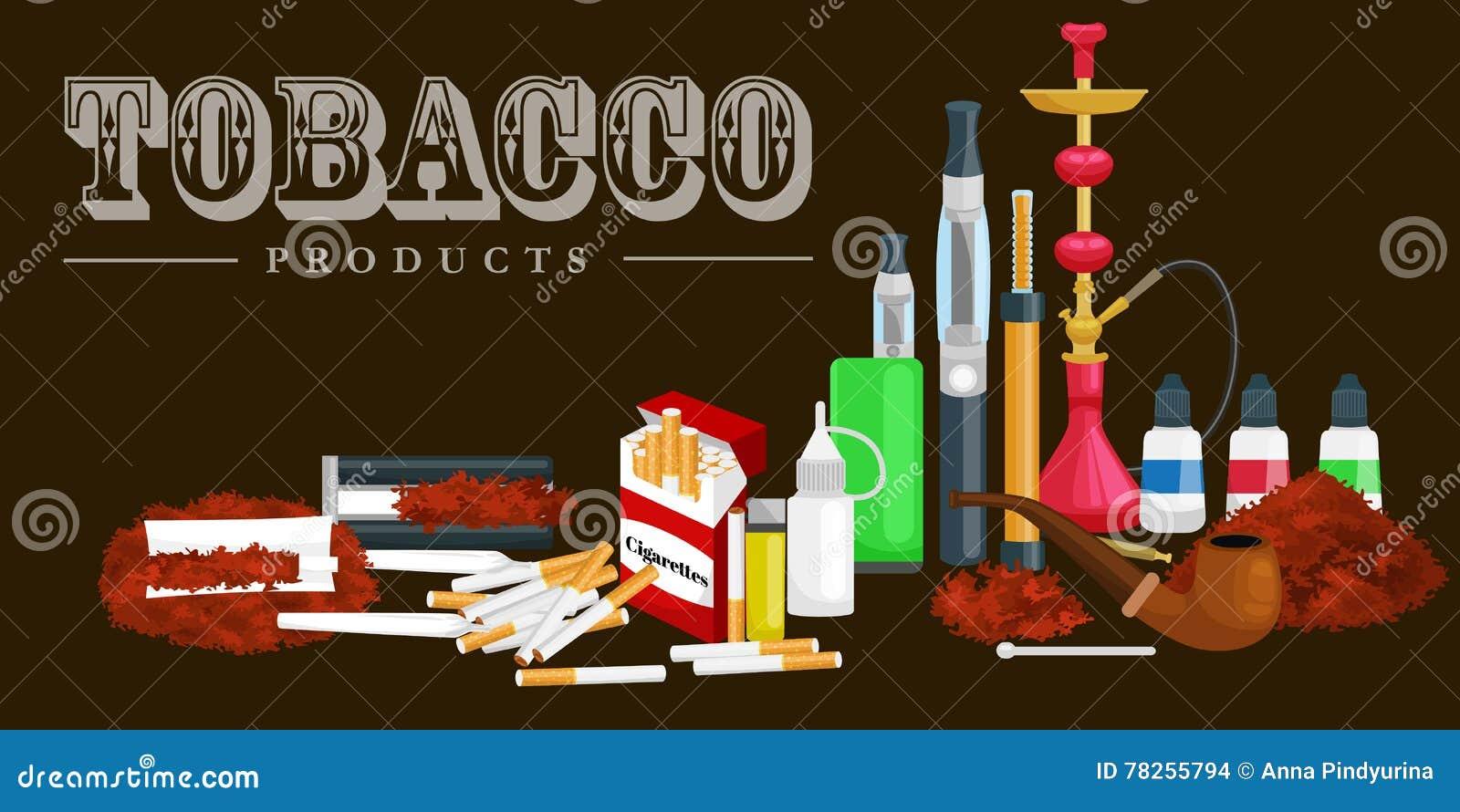 Τα καπνίζοντας εικονίδια προϊόντων καπνού θέτουν με την απομονωμένη αναπτήρας διανυσματική απεικόνιση πούρων τσιγάρων hookah