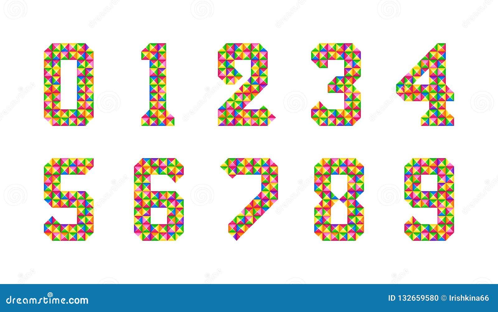 Τα κινούμενα σχέδια απομόνωσαν τους αριθμούς κεραμιδιών καθορισμένους Διανυσματικό σύνολο 1-9 εικονιδίων μωρών ψηφίων Ζωηρόχρωμο