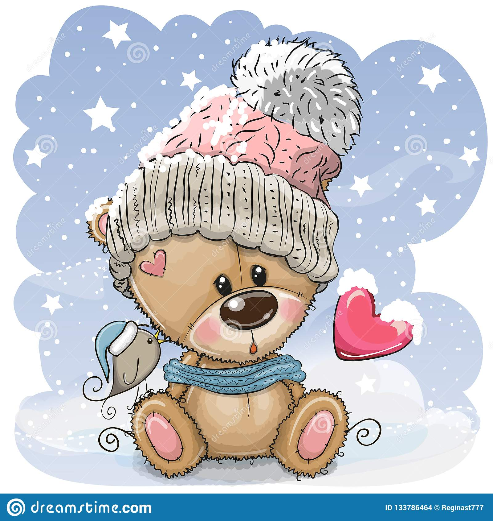 Τα κινούμενα σχέδια Teddy αντέχουν σε μια πλεκτή ΚΑΠ κάθονται σε ένα χιόνι