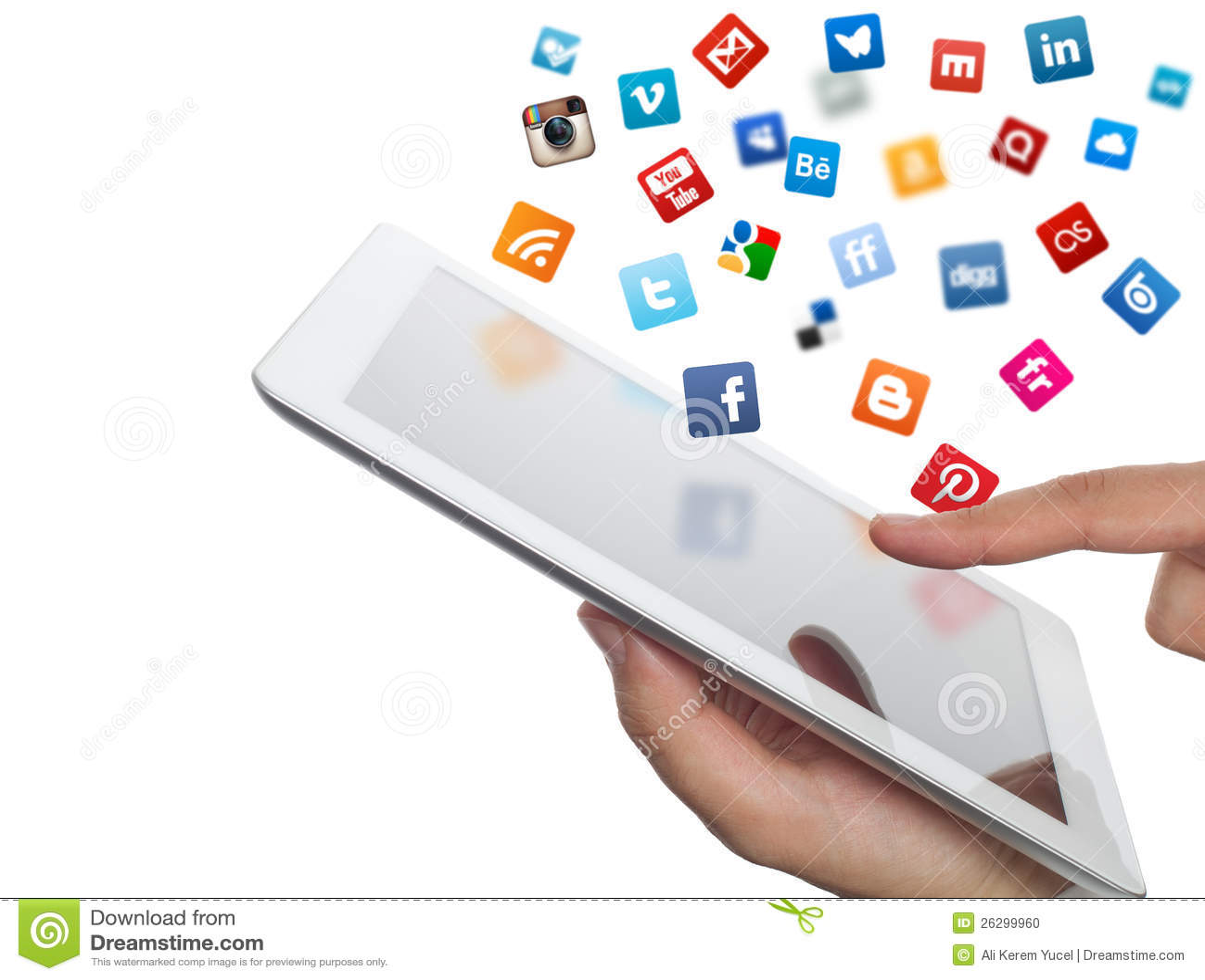 Τα κοινωνικά εικονίδια μέσων πετούν από το ipad στη διάθεση