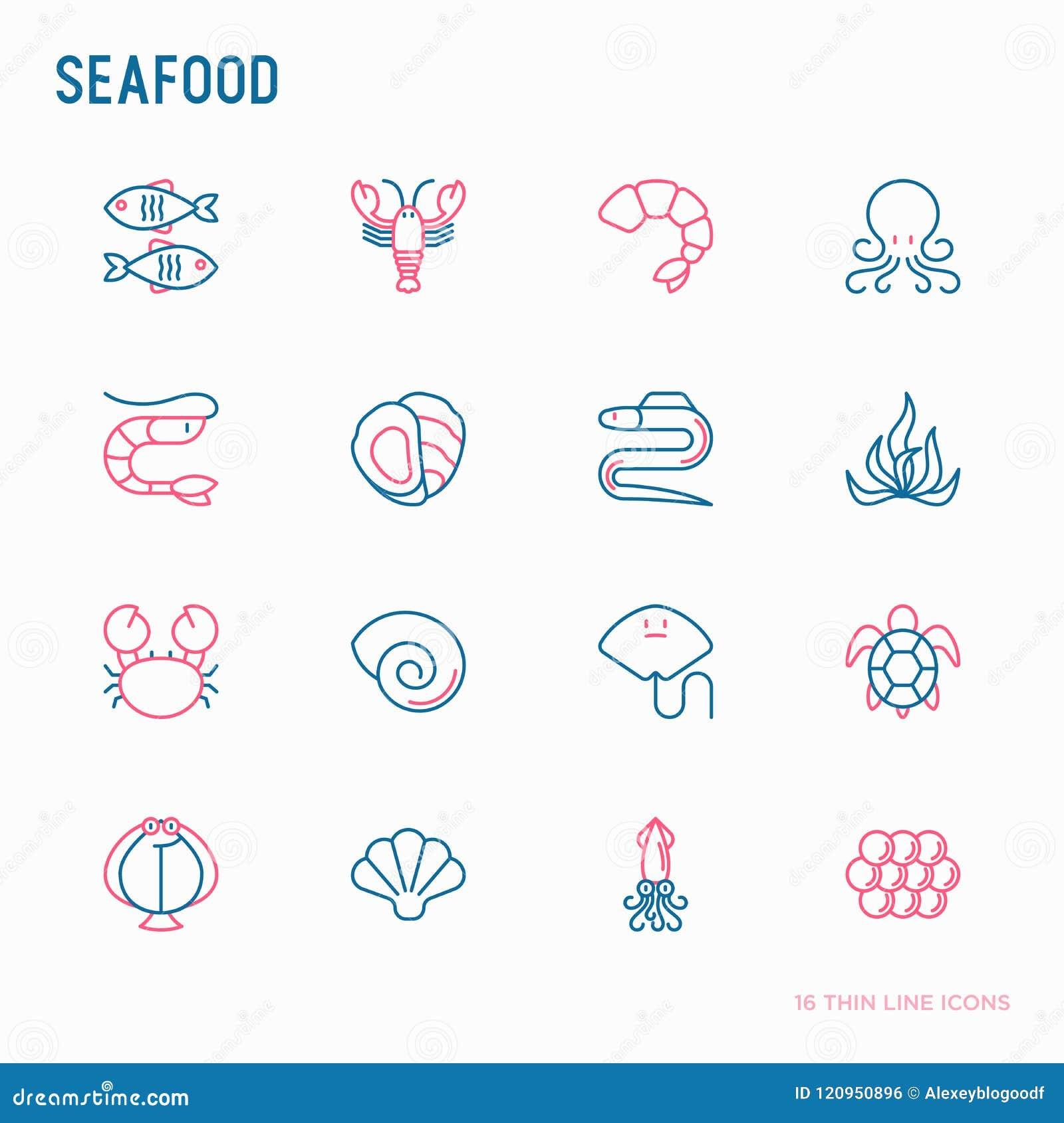 Τα λεπτά εικονίδια γραμμών θαλασσινών θέτουν: αστακός, ψάρια, γαρίδες, χταπόδι, στρείδι, χέλι, φύκι, καβούρι, κεκλιμένη ράμπα, χε