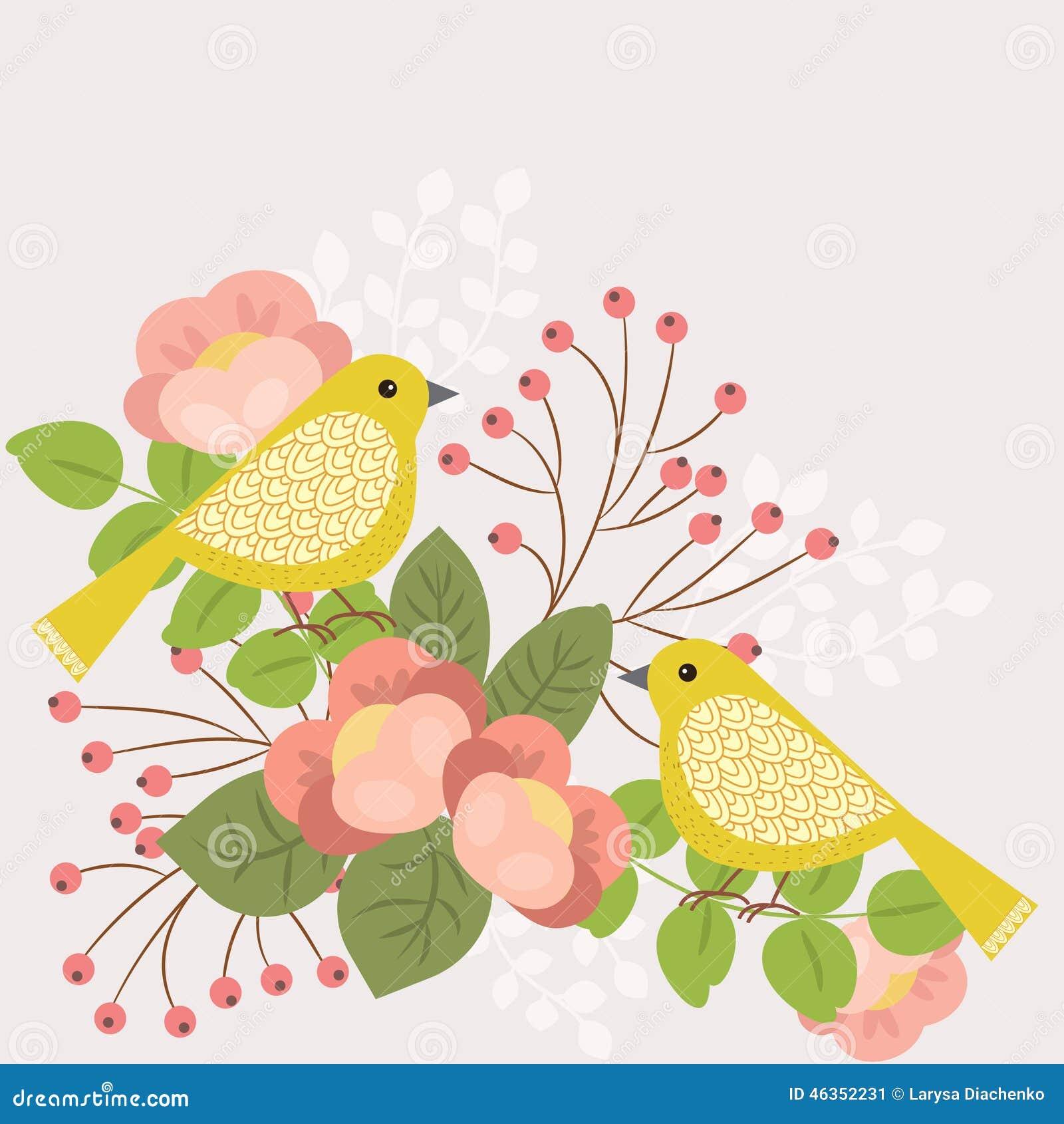 τα λουλούδια πουλιών που τίθενται το διάνυσμα αυτοκόλλητων ετικεττών
