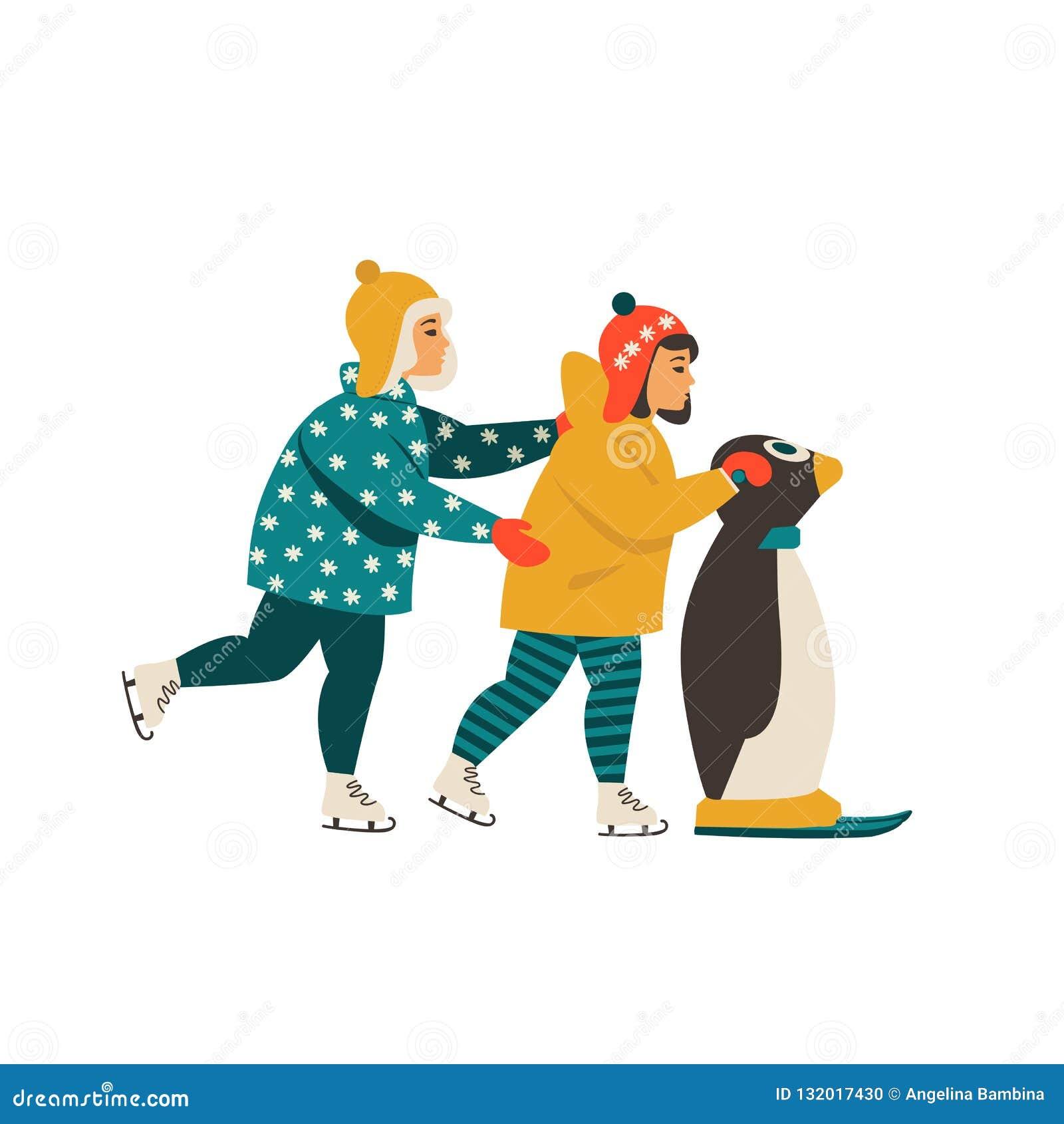 Τα παιδιά μαθαίνουν τον πάγο κάνοντας πατινάζ διατηρώντας το penguin