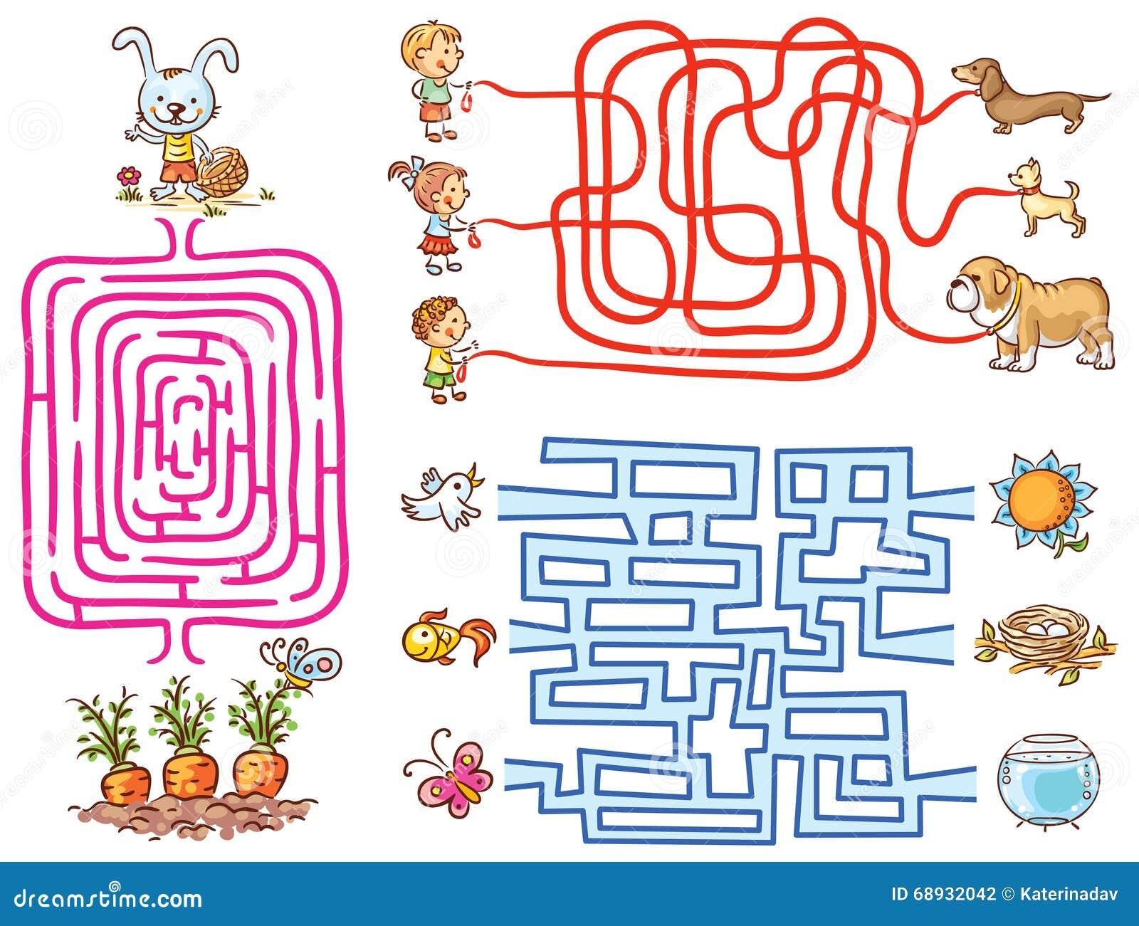 Τα παιχνίδια λαβύρινθων θέτουν για τα preschoolers: βρείτε τα στοιχεία τρόπων ή αντιστοιχιών
