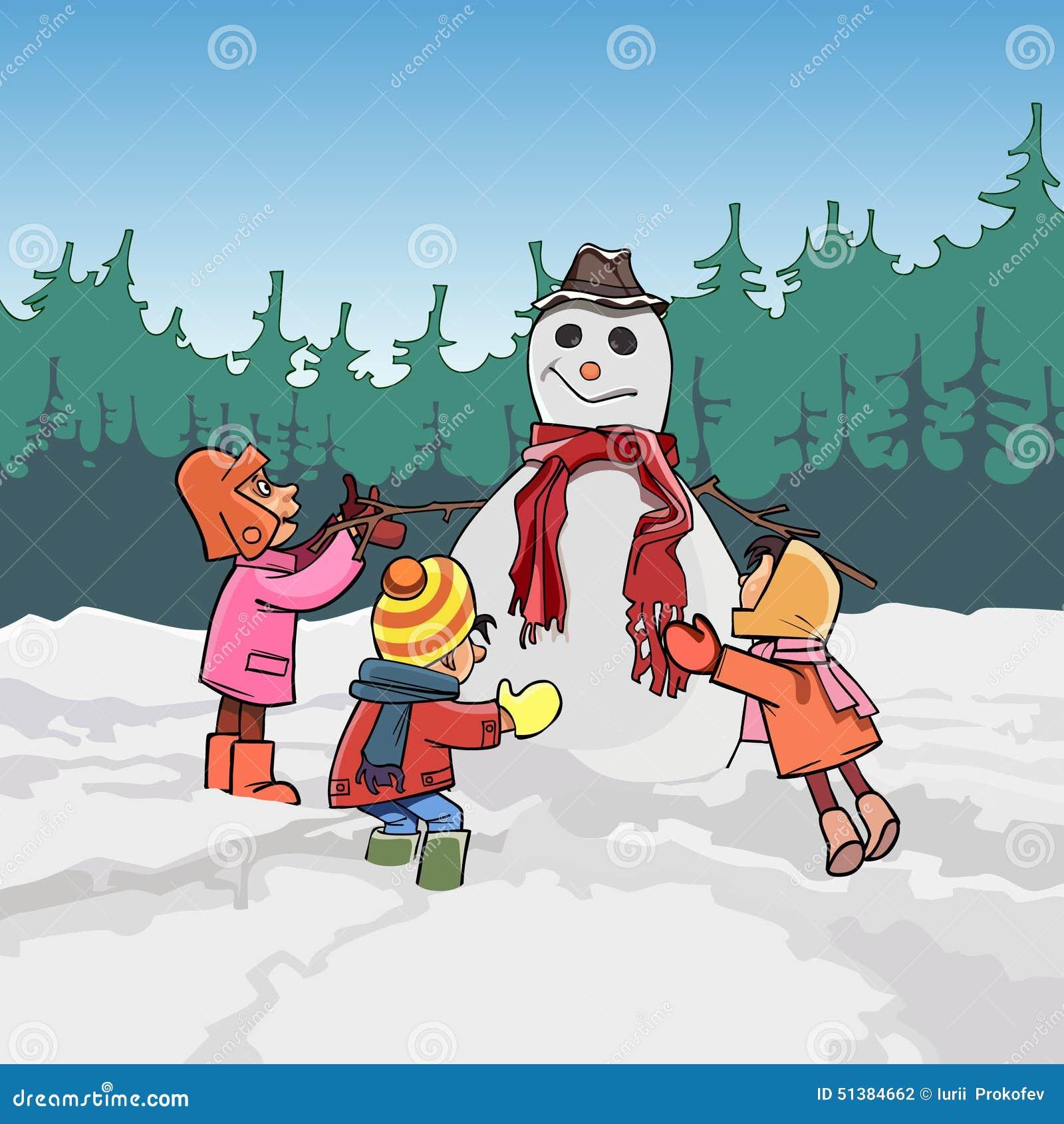 Τα παιδιά κινούμενων σχεδίων φορμάρουν το χιονάνθρωπο το χειμώνα