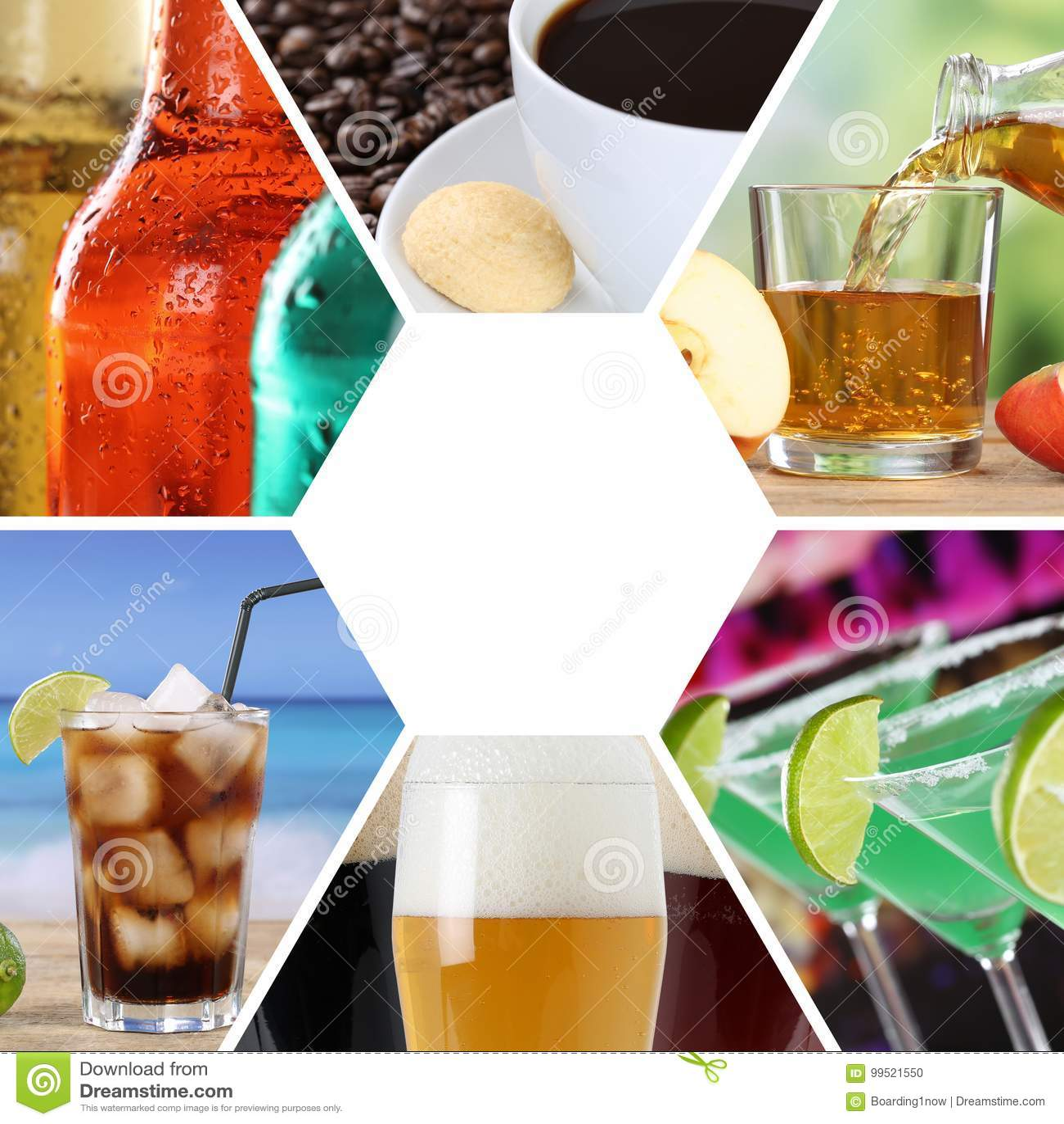 Τα ποτά κολάζ συλλογής επιλογών ποτών πίνουν το τετραγωνικό εστιατόριο