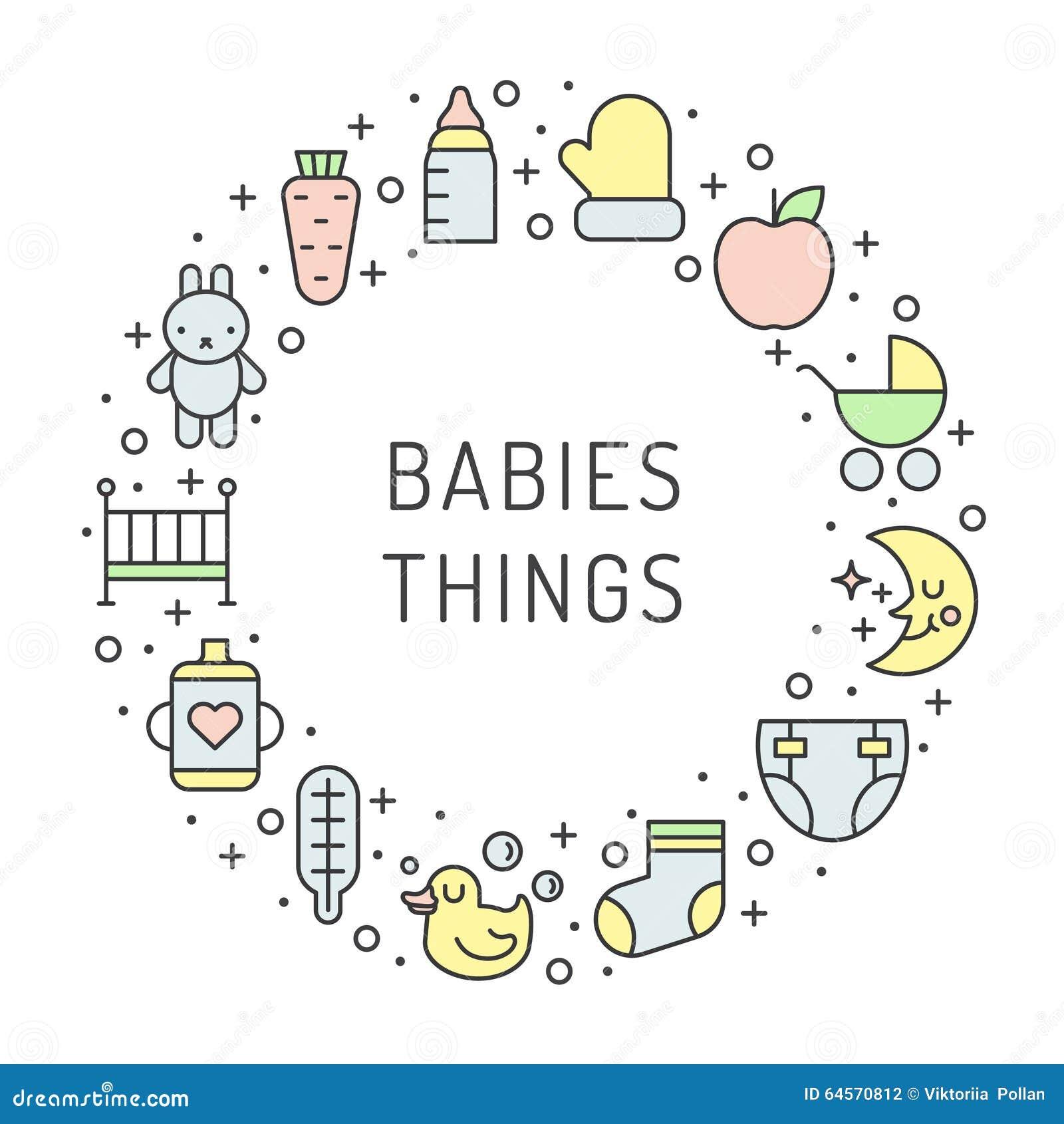 Τα πράγματα μωρών (κορίτσι και αγόρι) περιγράφουν το πολύχρωμο χαριτωμένο διανυσματικό υπόβαθρο πλαισίων κύκλων Σχέδιο Minimalist