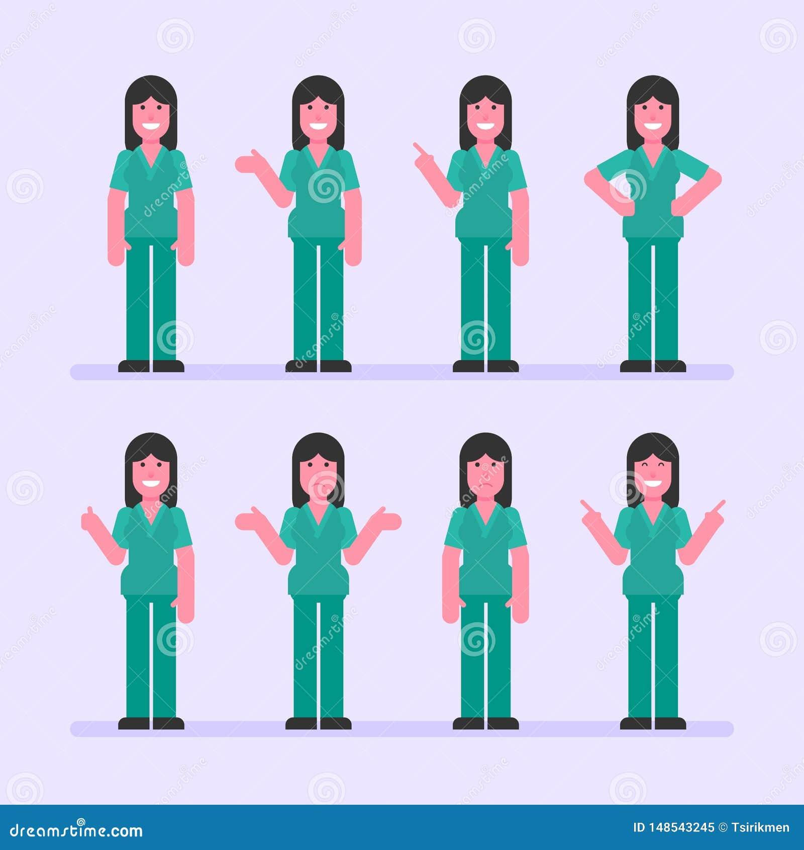 Τα σημεία γυναικών νοσοκόμων και παρουσιάζουν Χαρακτήρας - σύνολο