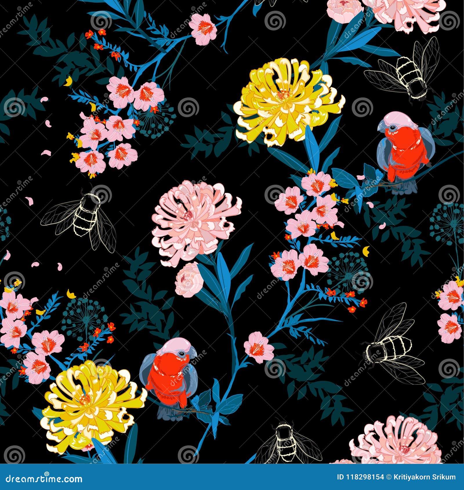 Τα σκοτεινά ιαπωνικά ανθίζοντας λουλούδια νύχτας κήπων, κλάδοι, αφήνουν το α