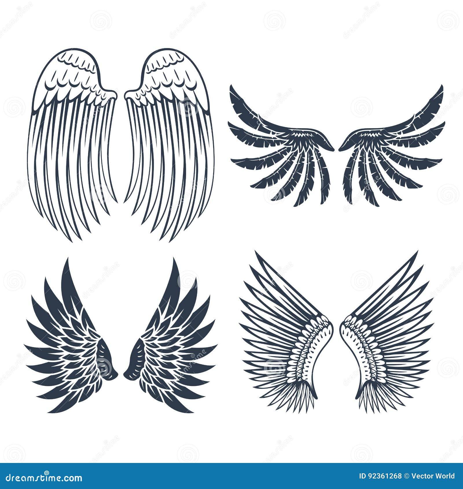 Τα φτερά απομόνωσαν τη ζωική φτερών γραναζιών πουλιών ελευθερίας διανυσματική απεικόνιση σχεδίου ειρήνης πτήσης φυσική