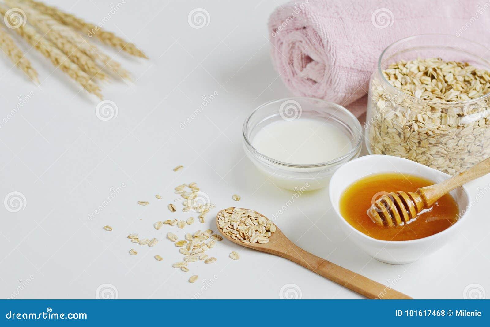 Τα φυσικά συστατικά για το σπιτικό γάλα προσώπου σώματος βρωμών τρίβουν
