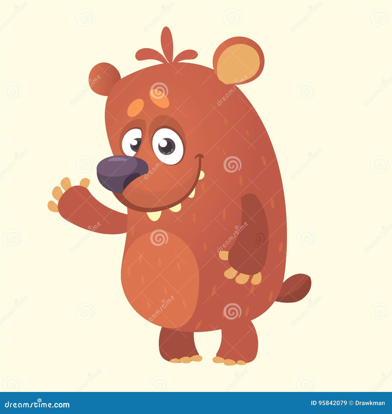 Τα χαριτωμένα κινούμενα σχέδια αντέχουν το χαρακτήρα Διανυσματική απεικόνιση ενός κυματίζοντας χεριού αρκούδων Απομονωμένος στο λ