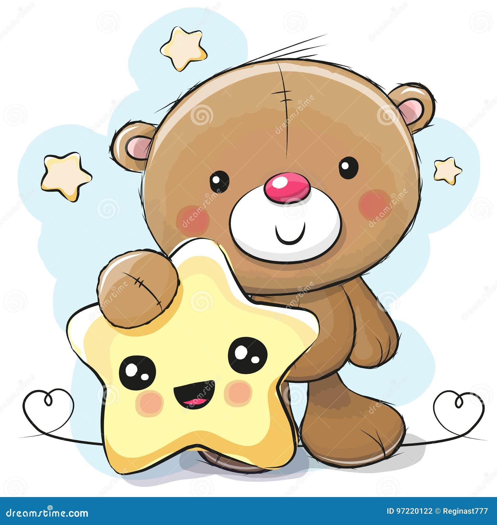 Τα χαριτωμένα κινούμενα σχέδια Teddy αντέχουν με το αστέρι