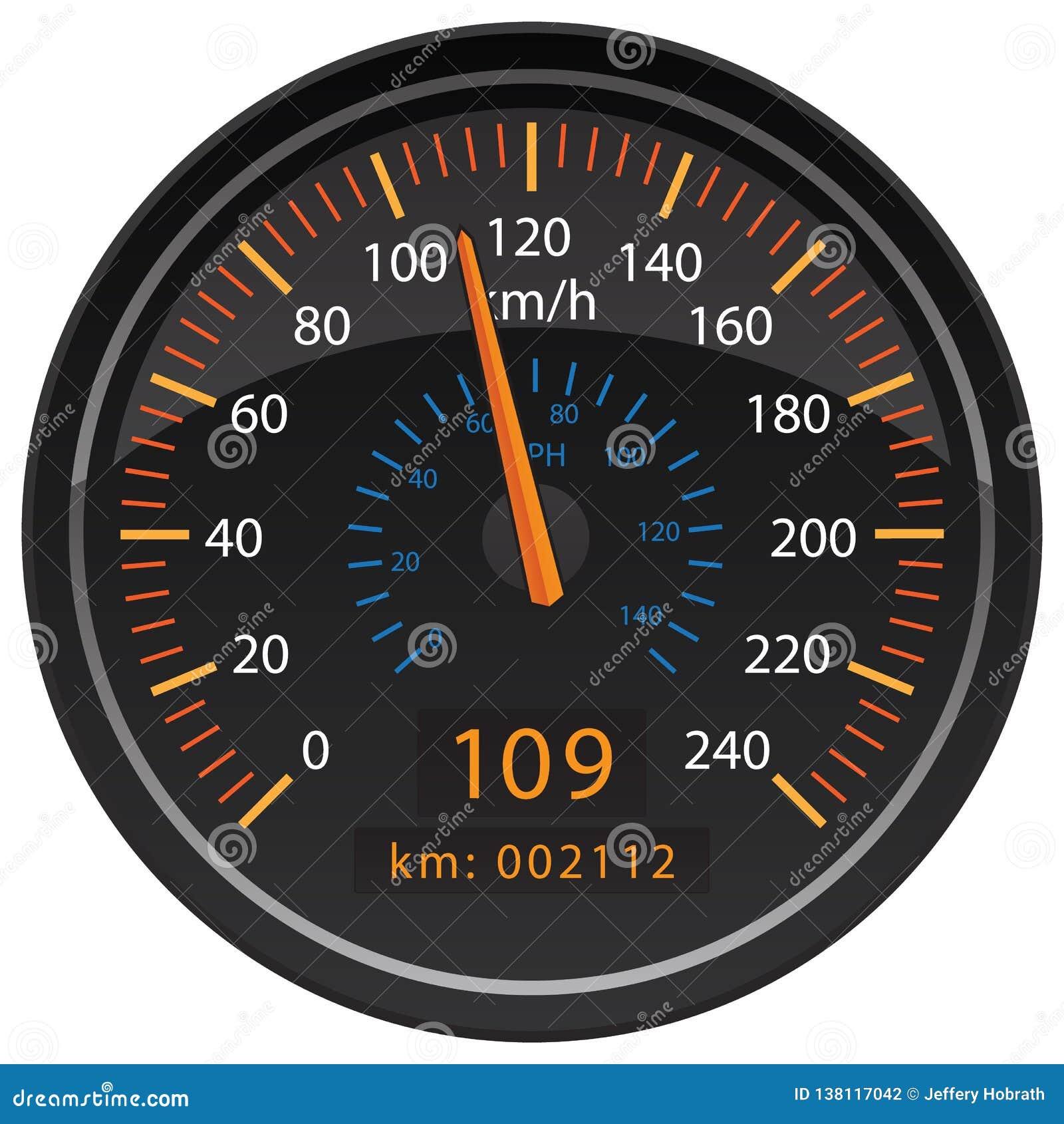 Τα χιλιόμετρα KMH ανά αυτοκίνητο ταμπλό οδομέτρων ταχυμέτρων ώρας μετρούν τη διανυσματική απεικόνιση