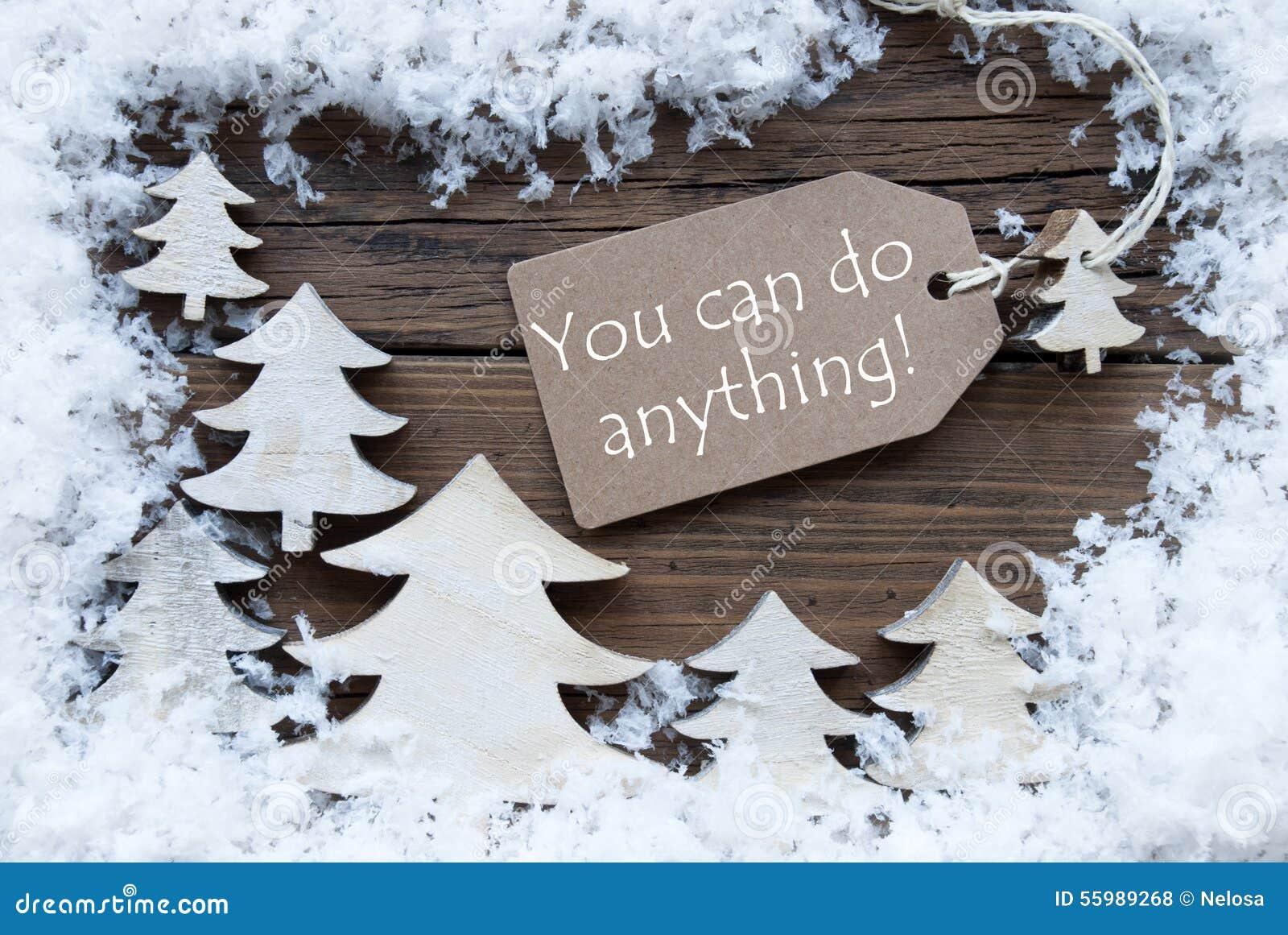 Τα χριστουγεννιάτικα δέντρα ετικετών και χιονίζουν εσείς μπορούν να κάνουν τίποτα