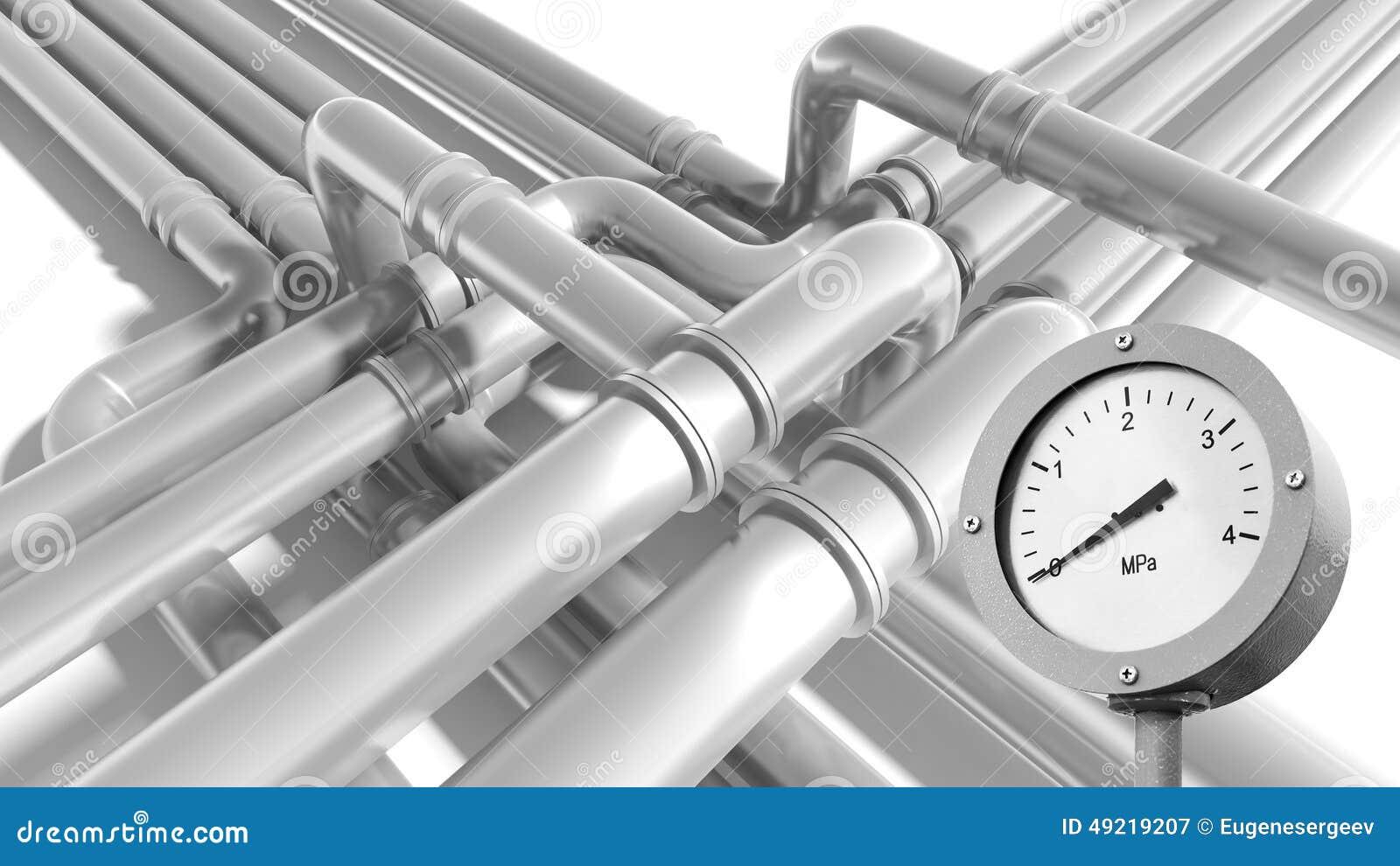 Τεμάχιο σωληνώσεων με μηά ένδειξη μανόμετρων πίεσης