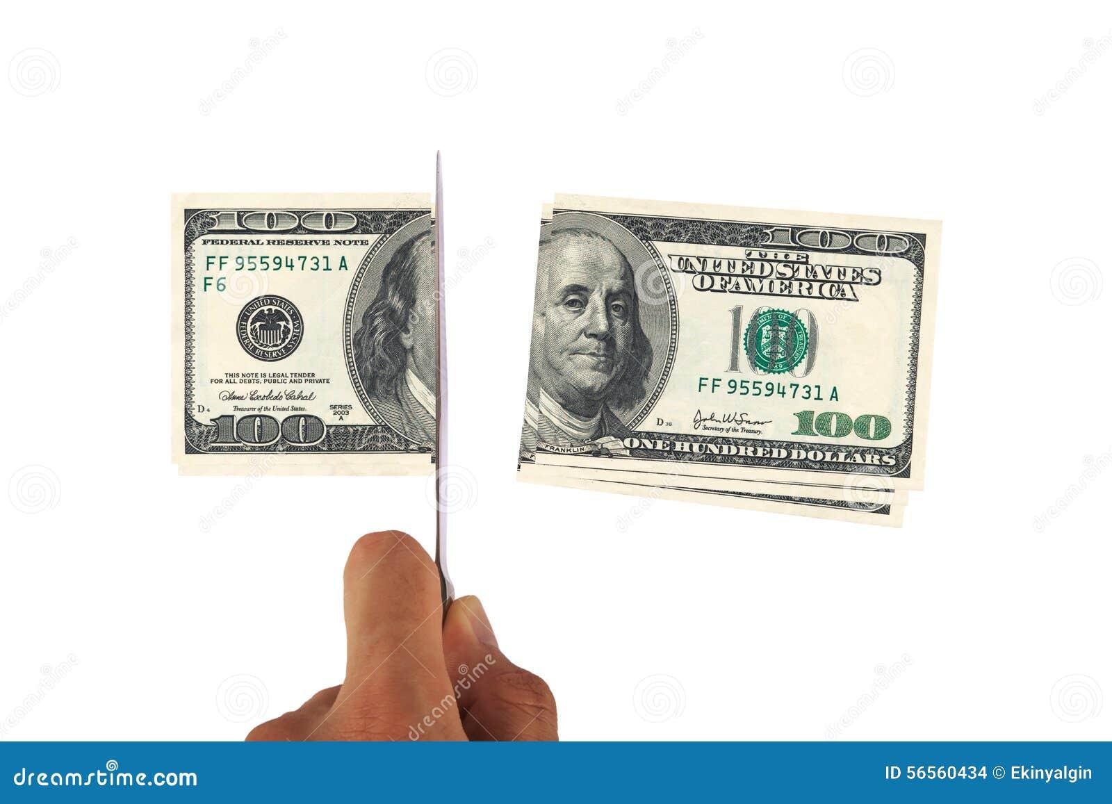 Download Τεμαχίζοντας τραπεζογραμμάτιο δολαρίων Στοκ Εικόνες - εικόνα από τρόφιμα, τεμαχισμός: 56560434