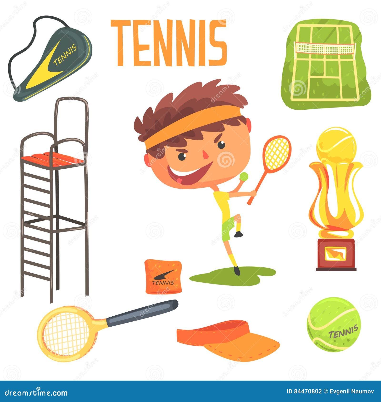 Τενίστας αγοριών, παιδιών μελλοντική απεικόνιση επαγγέλματος ονείρου επαγγελματική με σχετικός με τα αντικείμενα επαγγέλματος
