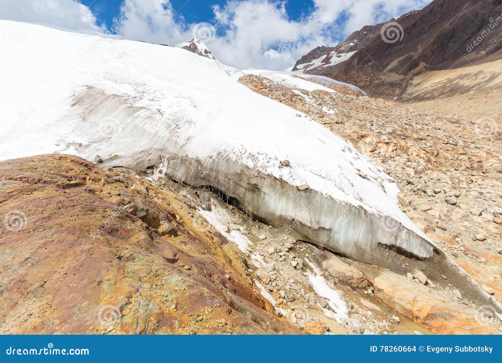 Τεράστιος παγωμένος βουνά παγετώνας που λειώνει την παγκόσμια αύξηση της θερμοκρασίας λόγω του φαινομένου του θερμοκηπίου, τοπίο